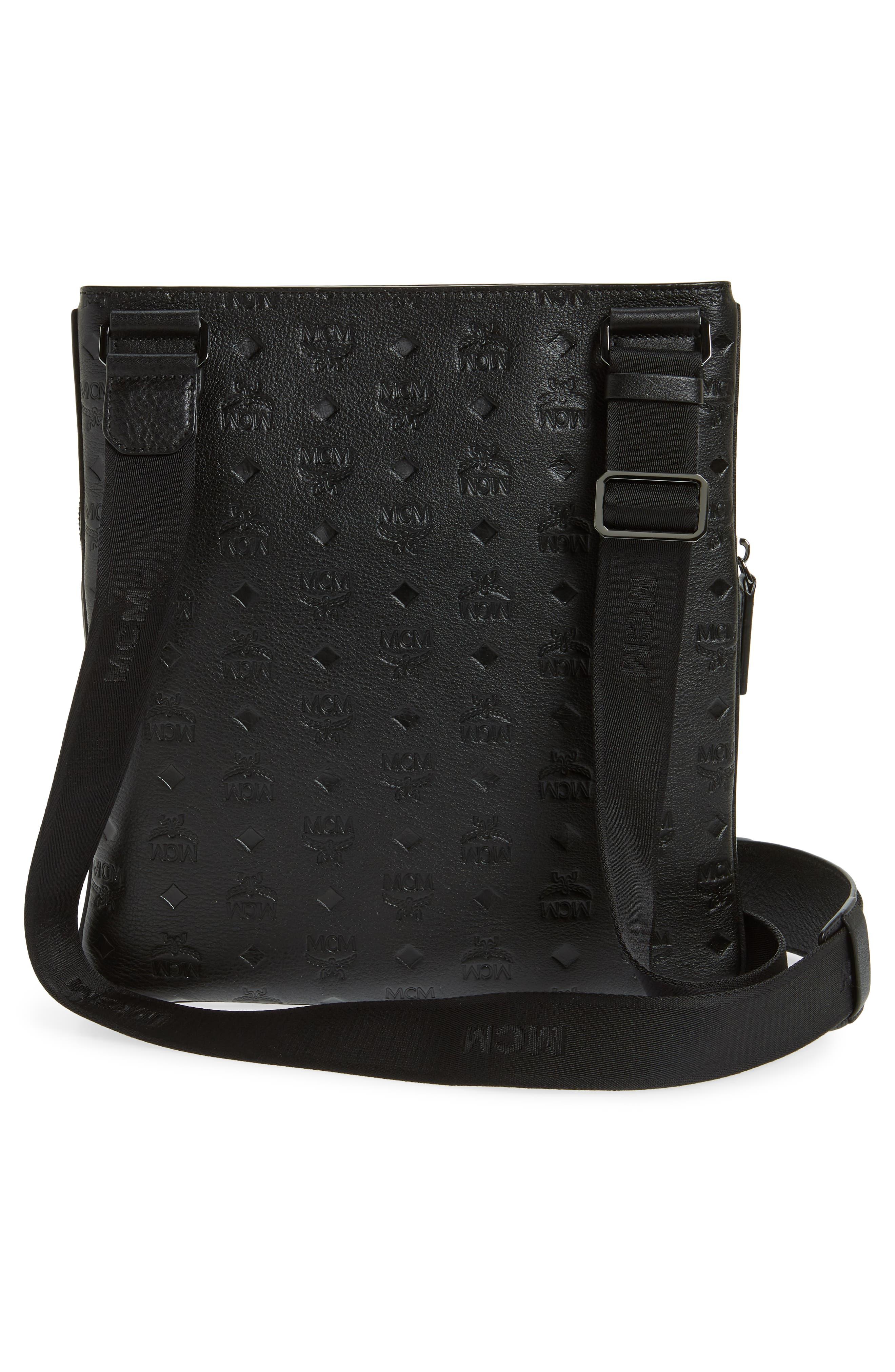 Ottomar Leather Crossbody Bag,                             Alternate thumbnail 3, color,                             001