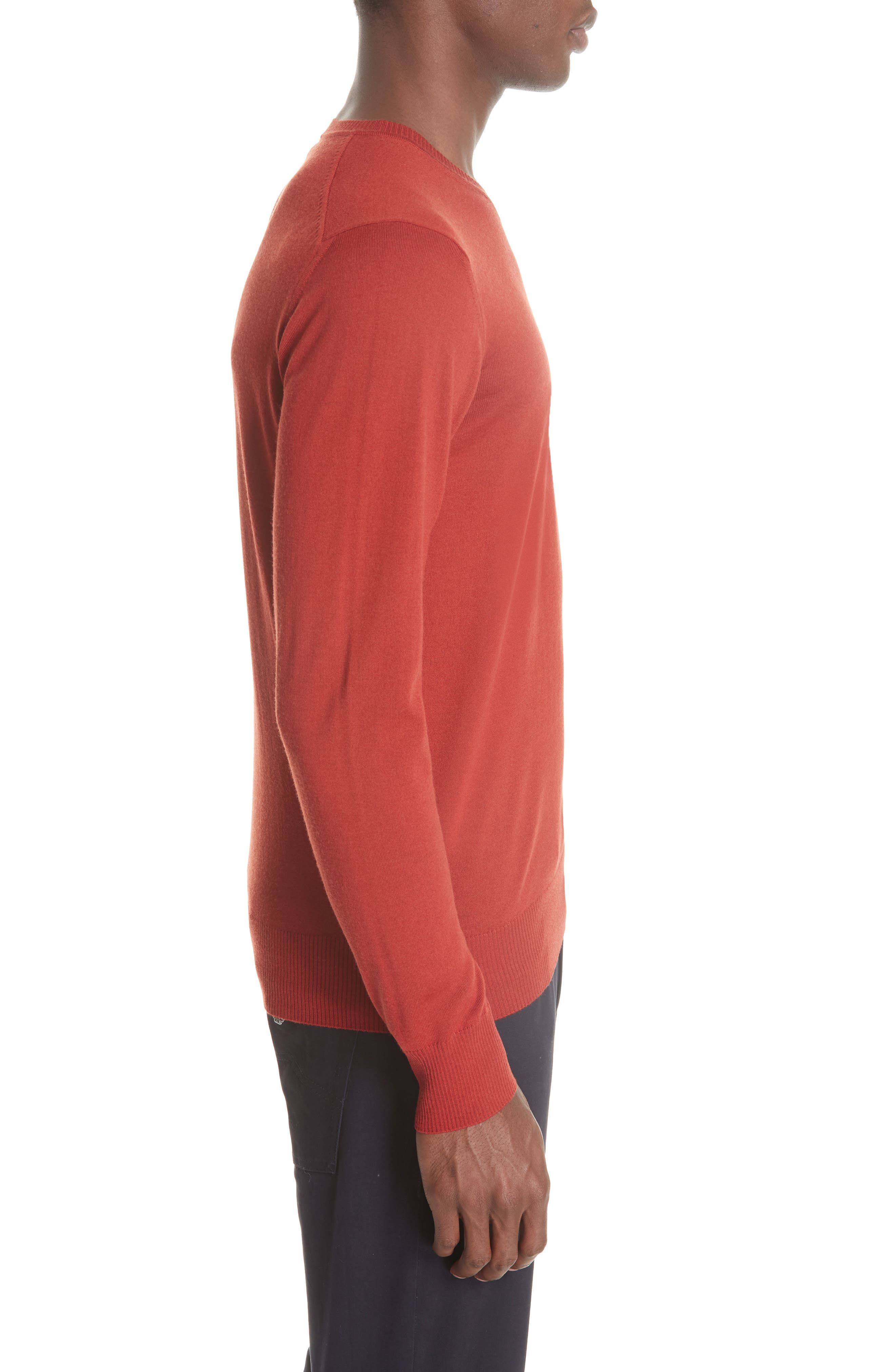 V-Neck Wool Sweater,                             Alternate thumbnail 3, color,                             RED