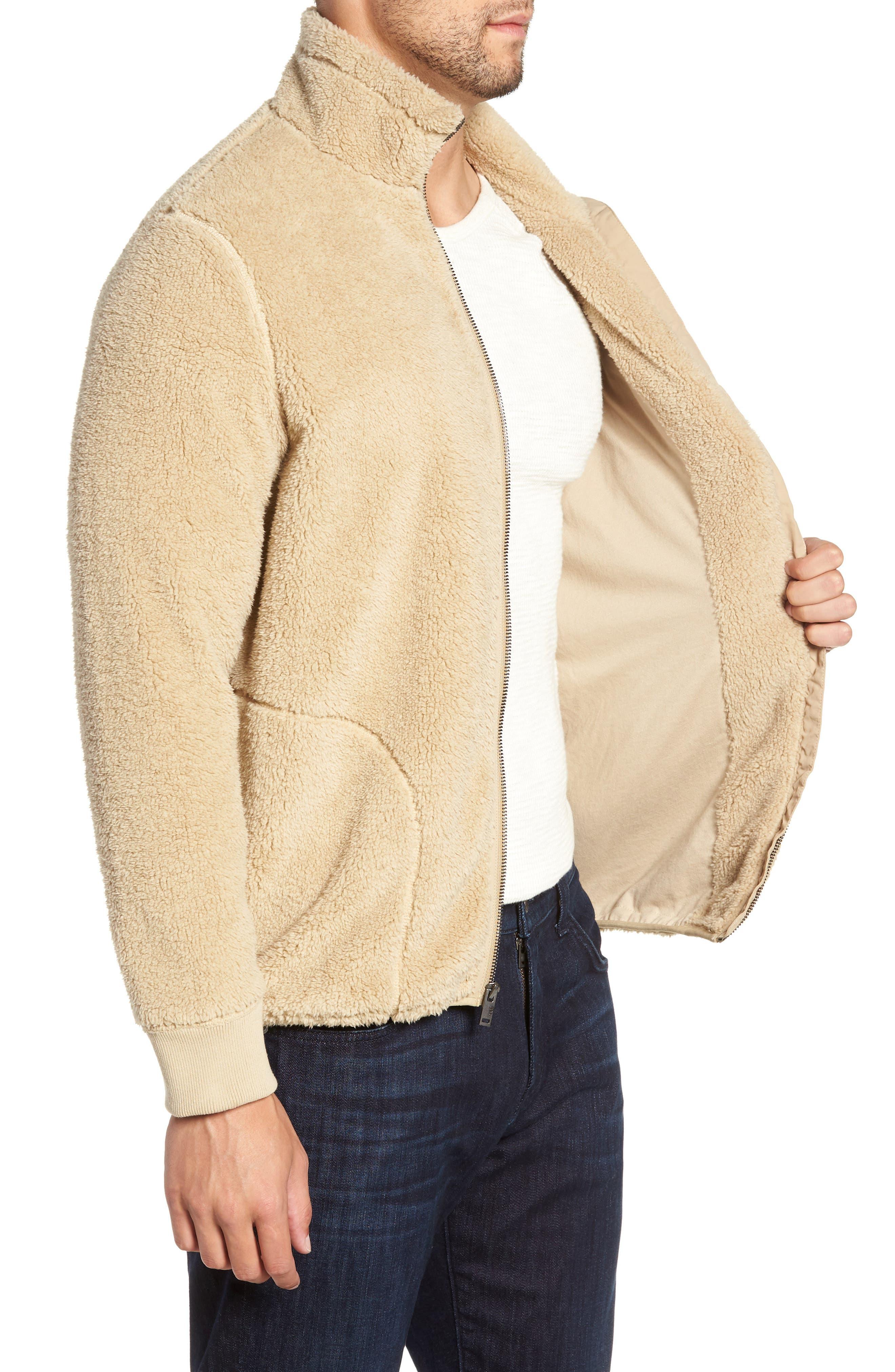 Lucas High Pile Fleece Sweater Jacket,                             Alternate thumbnail 3, color,                             SAND