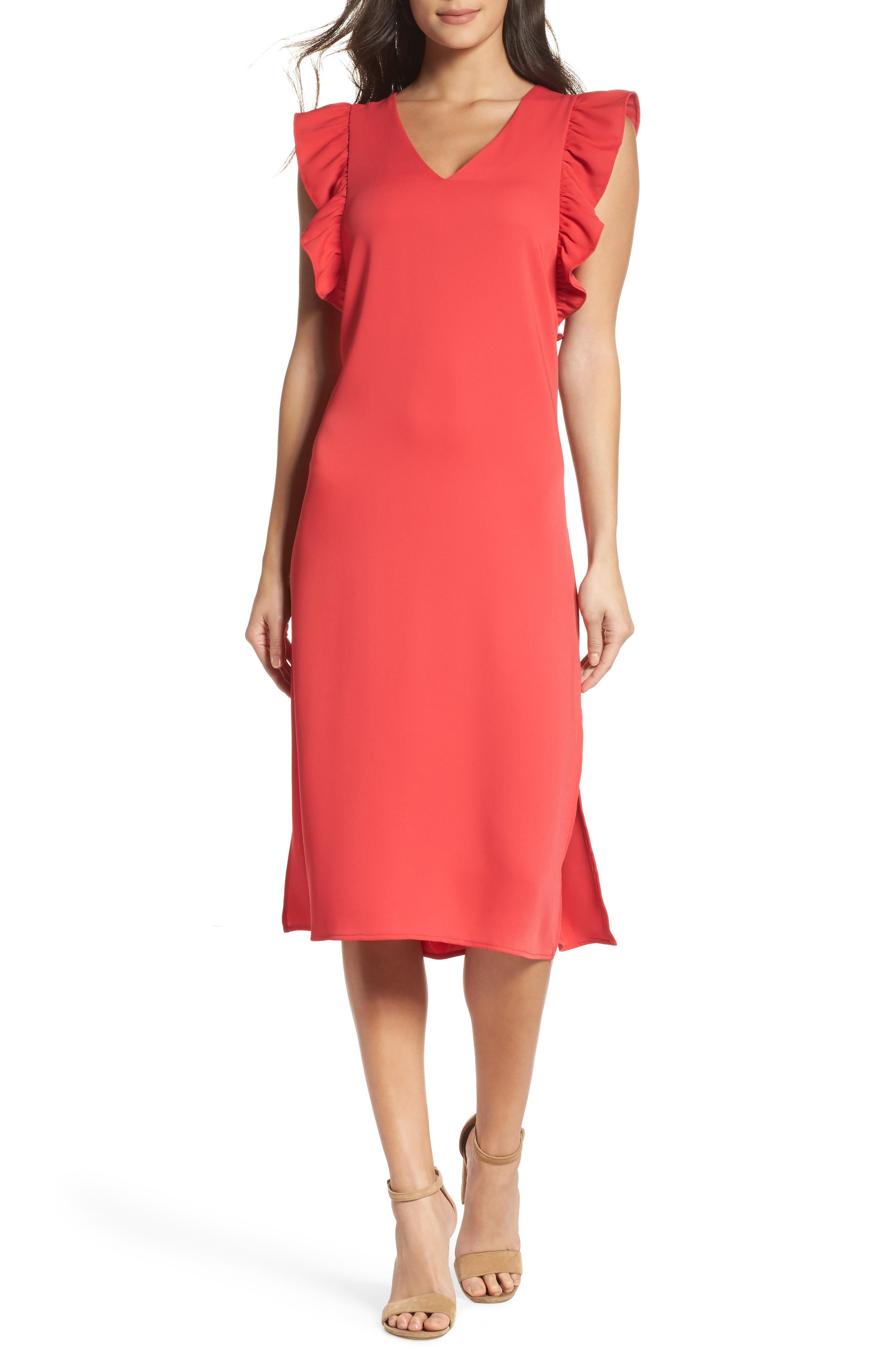 Ruffle Midi Dress,                             Main thumbnail 1, color,                             610