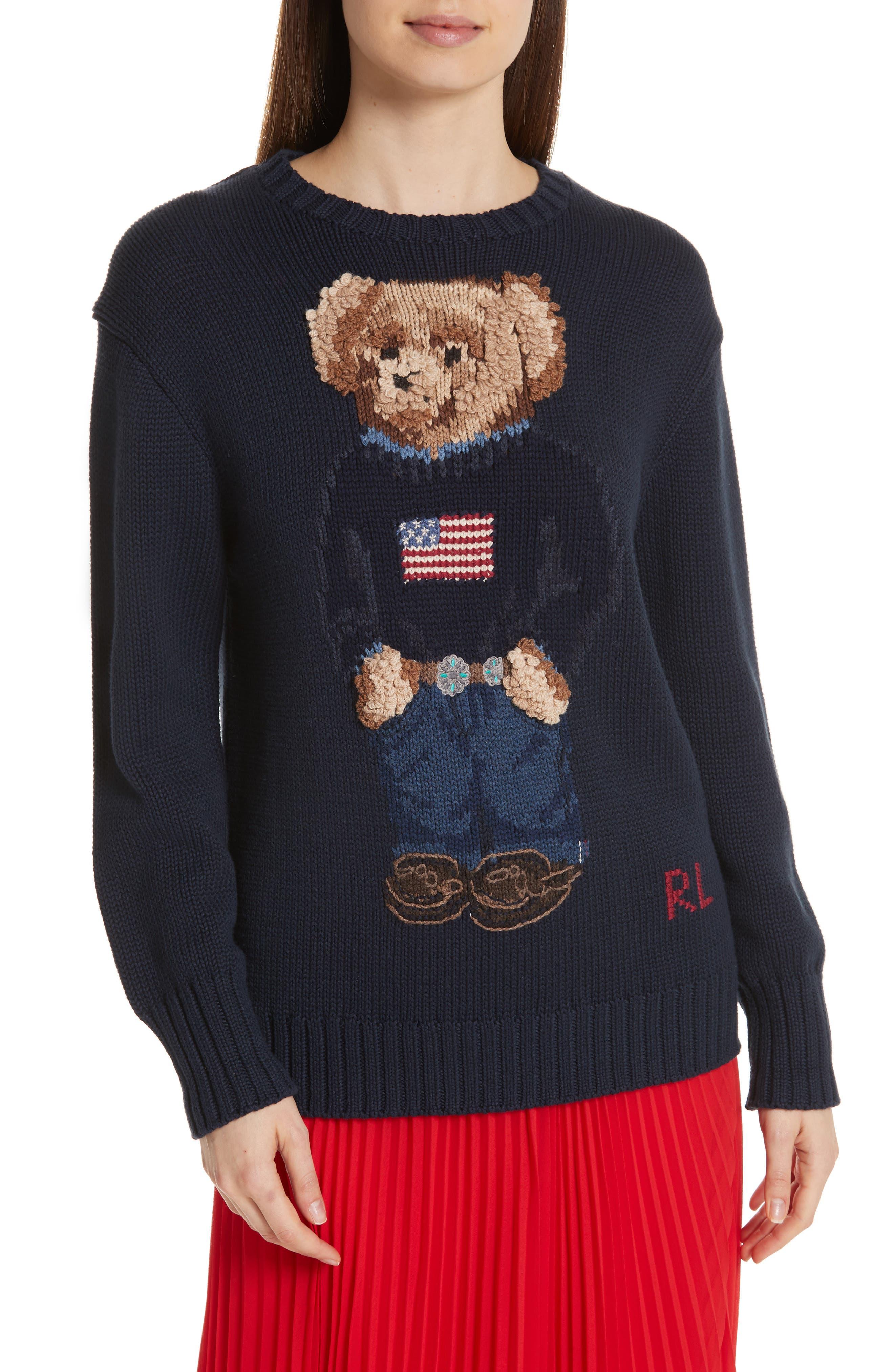 Bear Sweater,                             Main thumbnail 1, color,                             NAVY MULTI