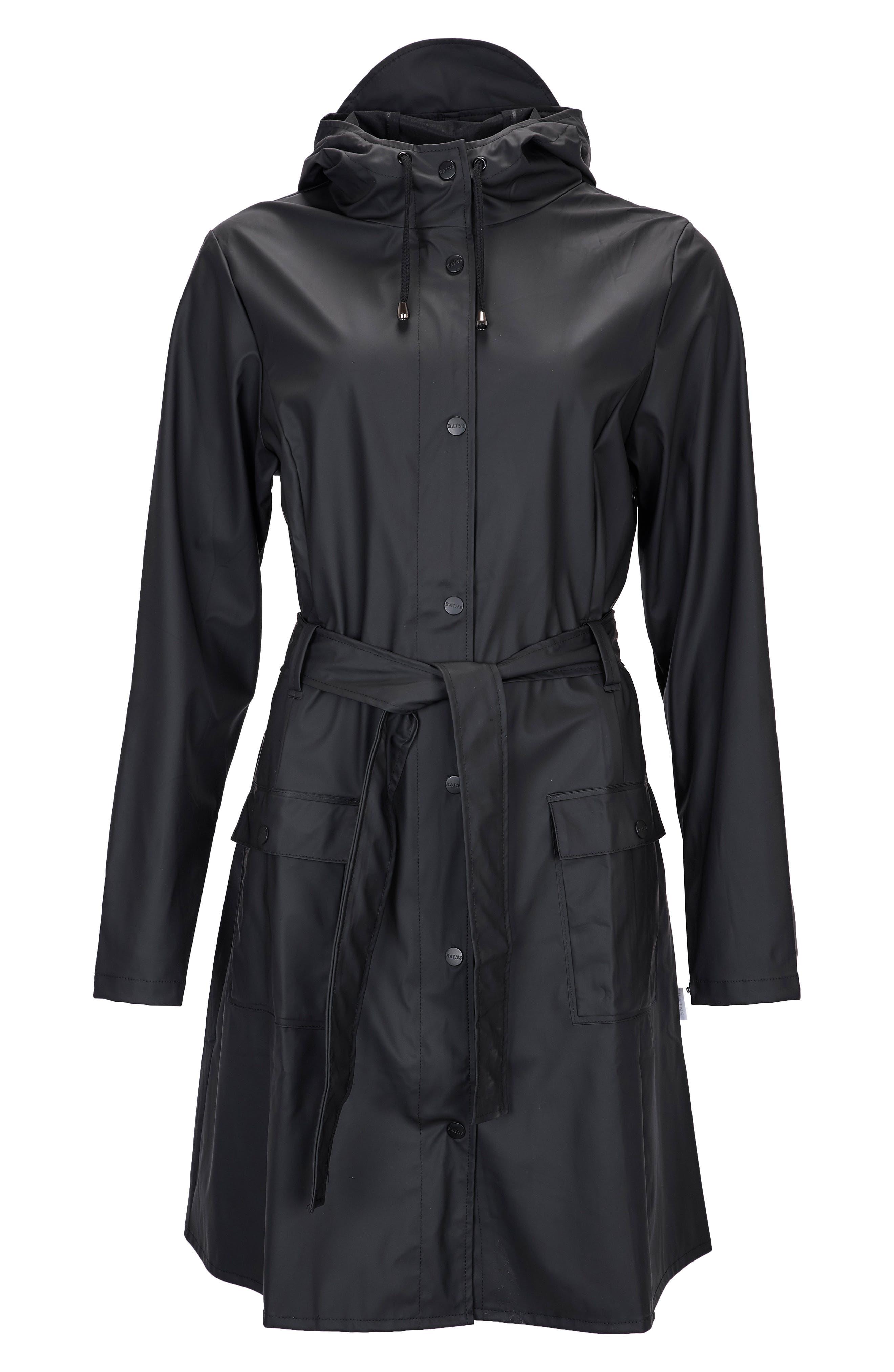 Curve Waterproof Hooded Rain Jacket,                             Alternate thumbnail 3, color,                             BLACK