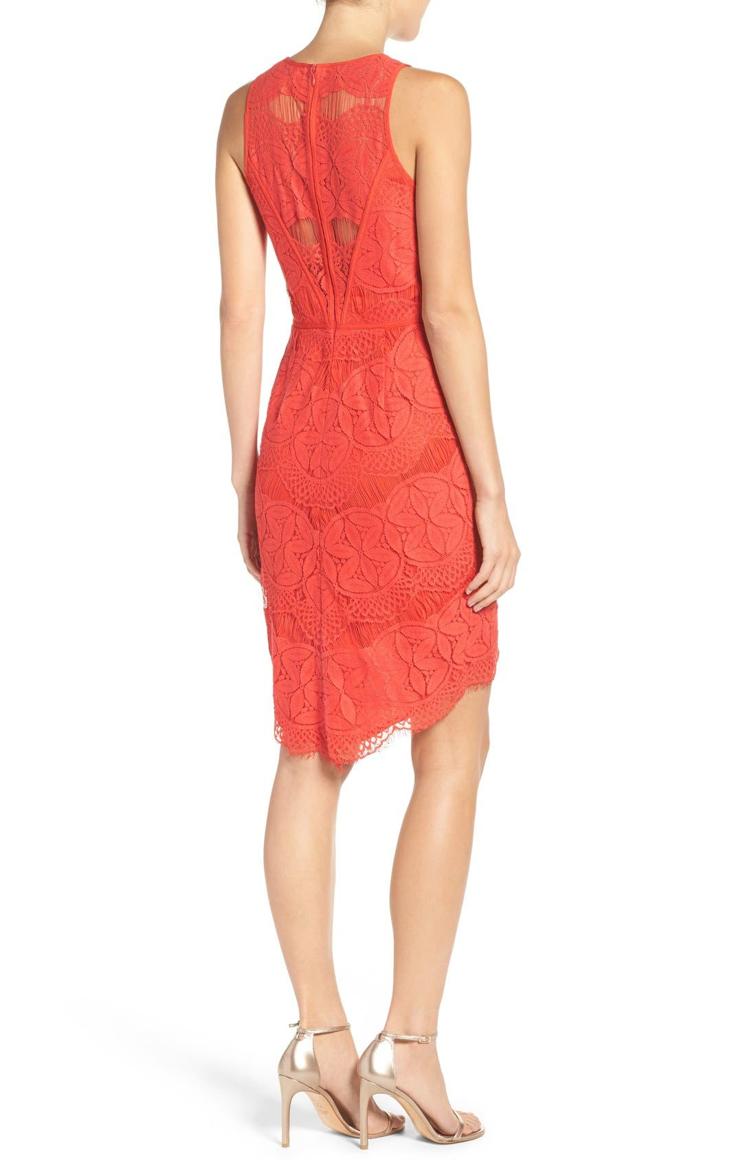 Lace High/Low Sheath Dress,                             Alternate thumbnail 40, color,