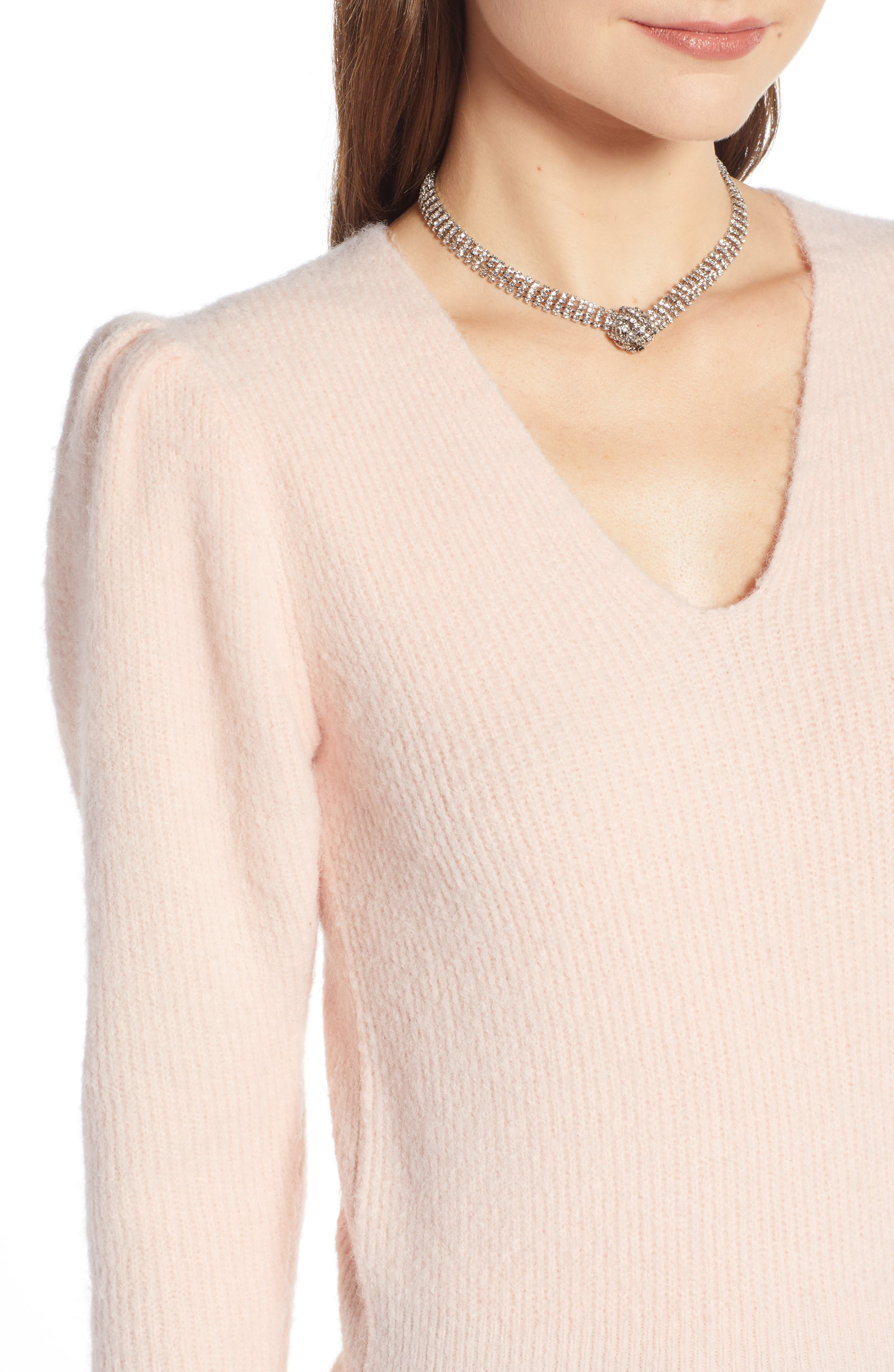 Puff Sleeve Sweater,                             Alternate thumbnail 4, color,                             PINK SEASHELL