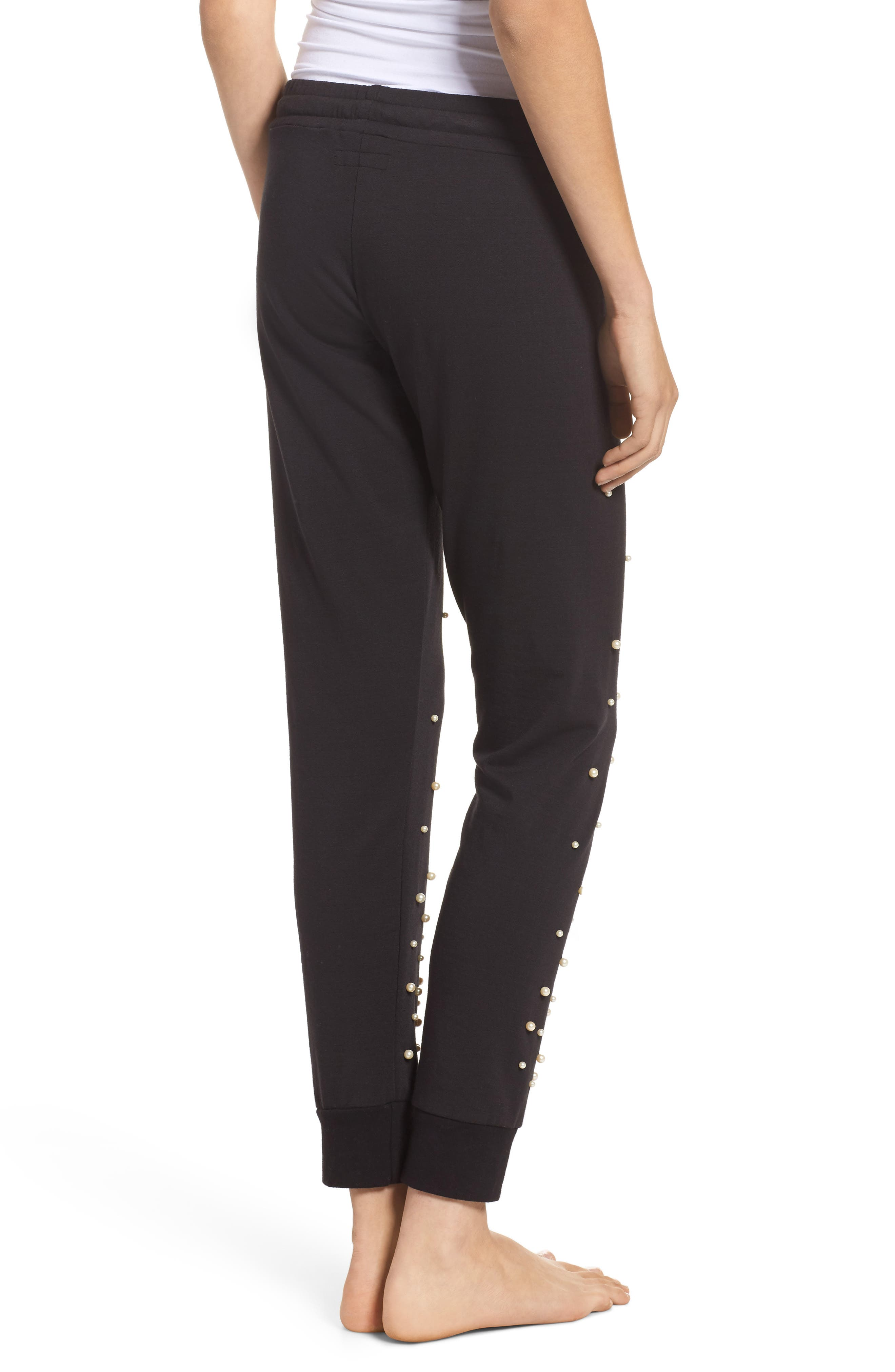 Price Imitation Pearl Embellished Lounge Pants,                             Alternate thumbnail 2, color,                             001