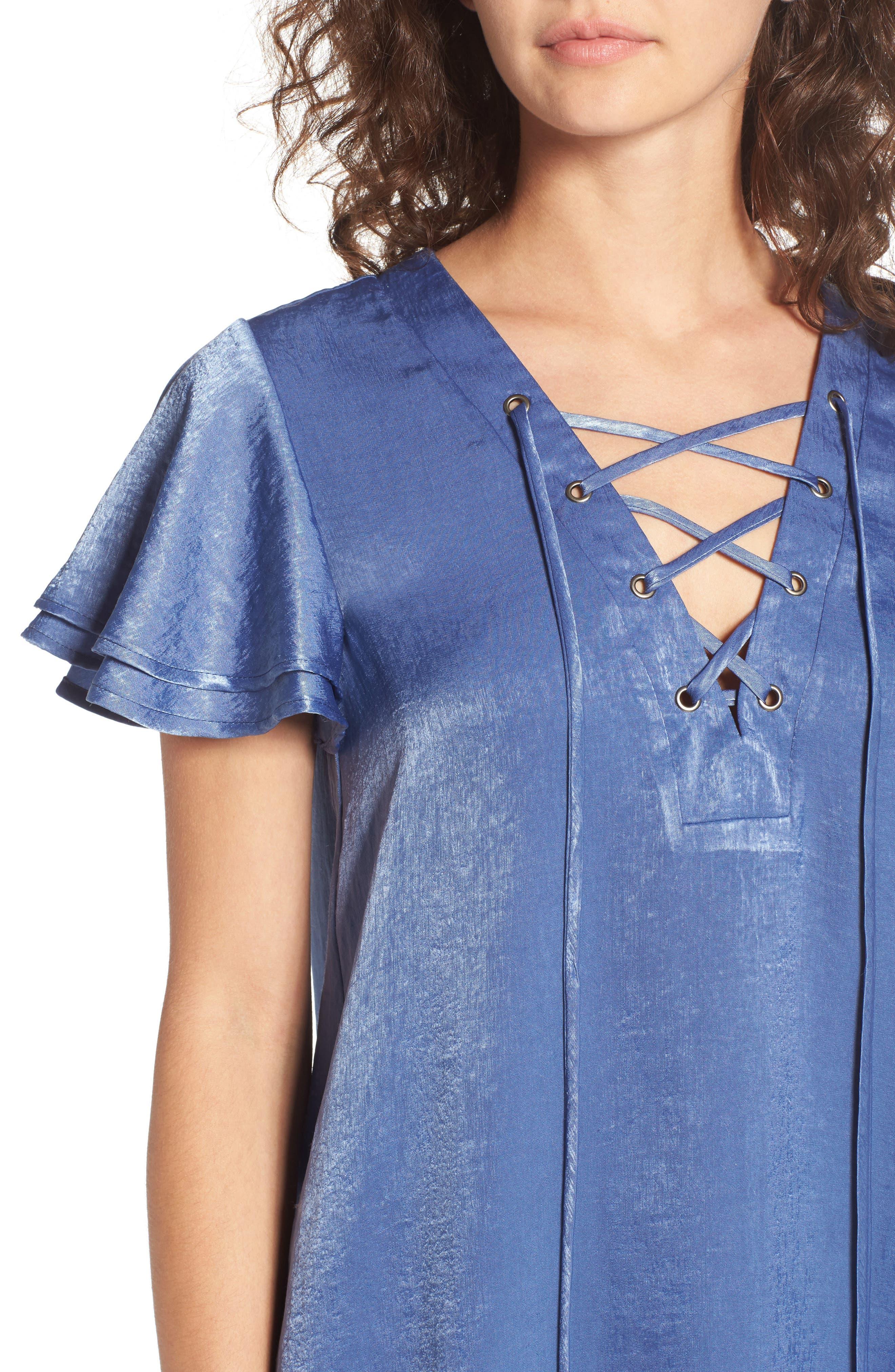 Lace-Up Shift Dress,                             Alternate thumbnail 4, color,
