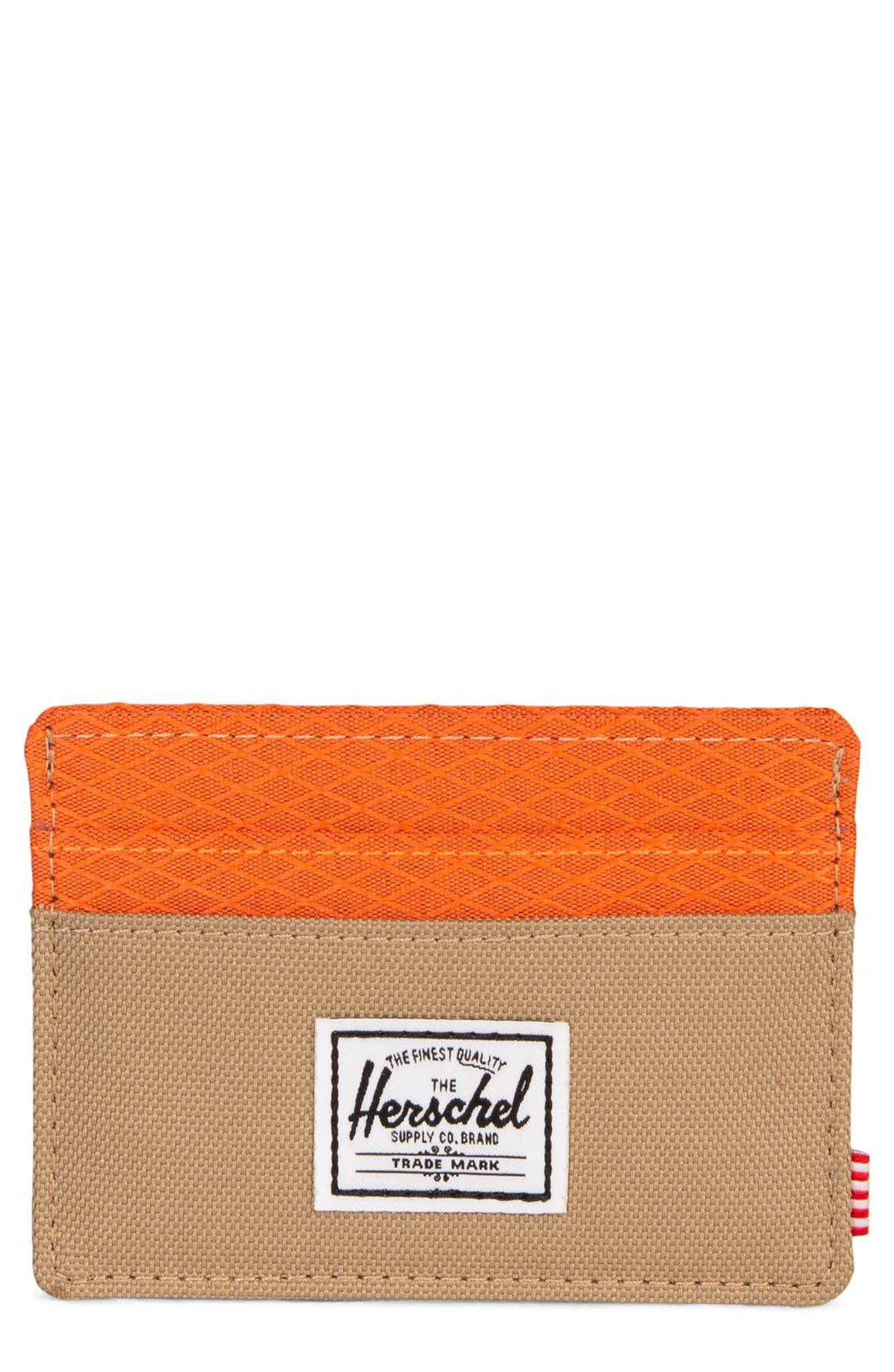 Charlie Card Case,                         Main,                         color, KELP/ VERMILLION ORANGE