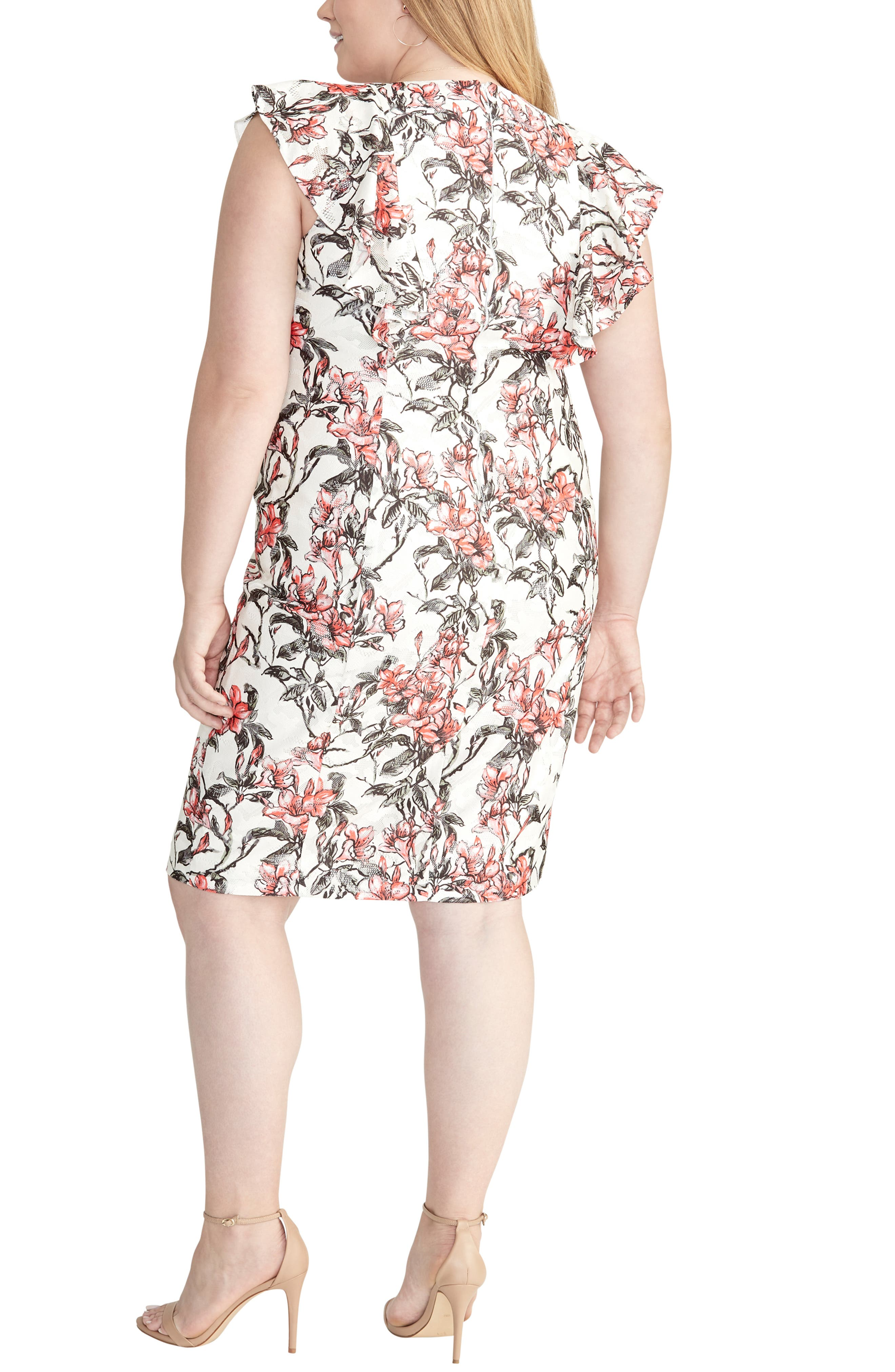 Ruffled Floral Lace Dress,                             Alternate thumbnail 2, color,                             FIRE COMBO