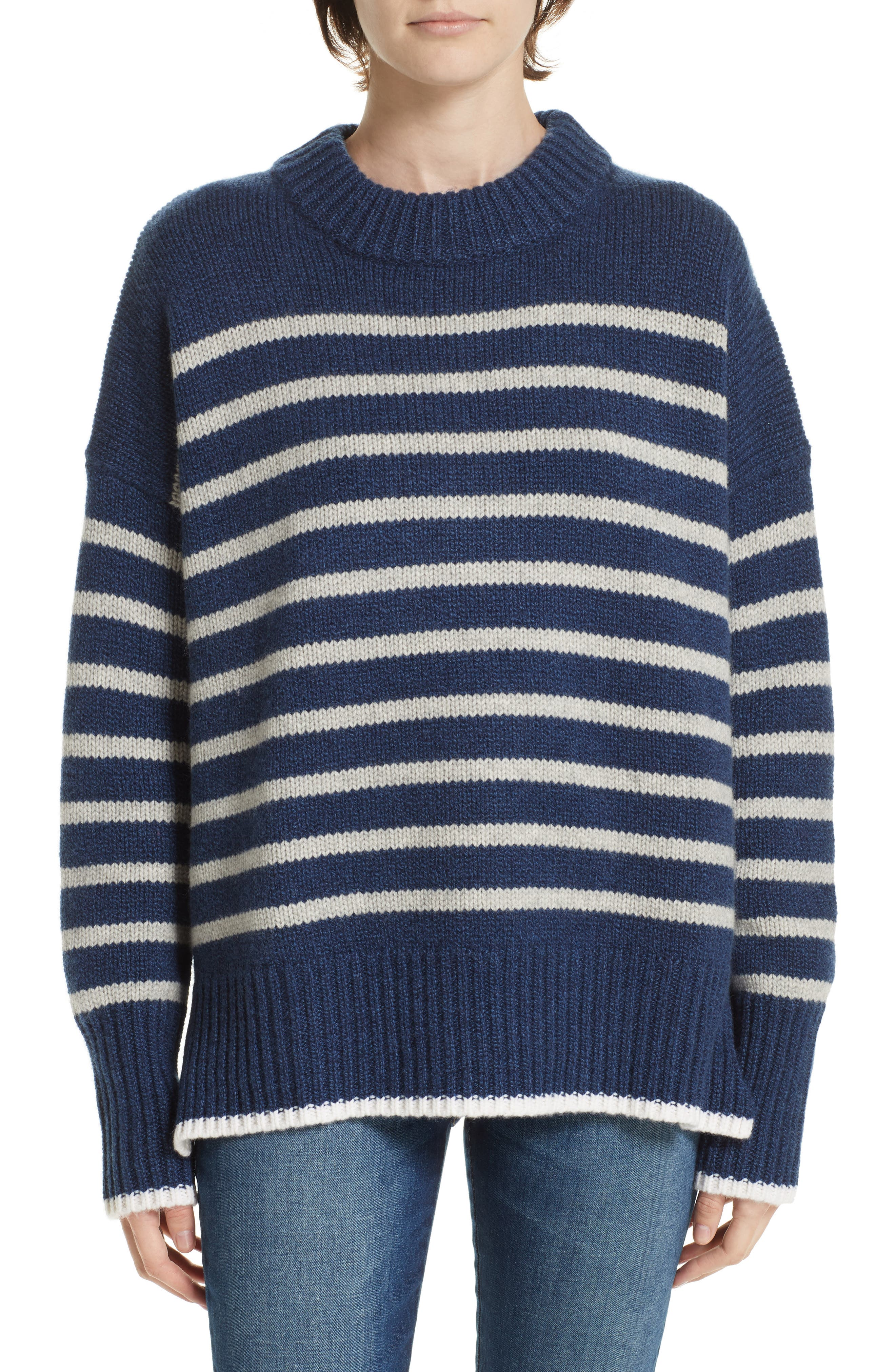 Marin Stripe Cashmere & Wool Sweater,                         Main,                         color, BLUE MARLE/ GREY MARLE/ CREAM