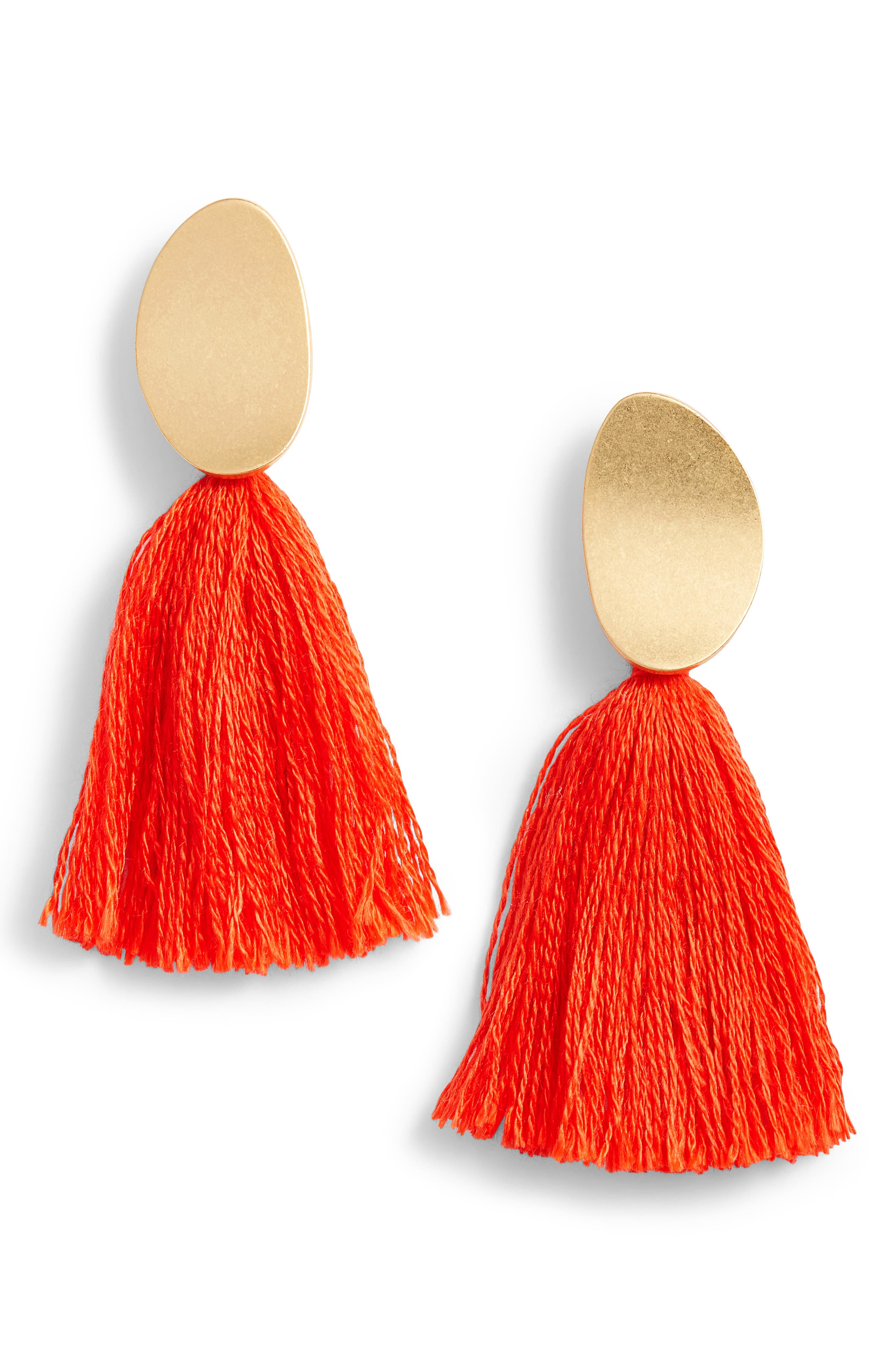 Curved Tassel Earrings,                             Main thumbnail 4, color,