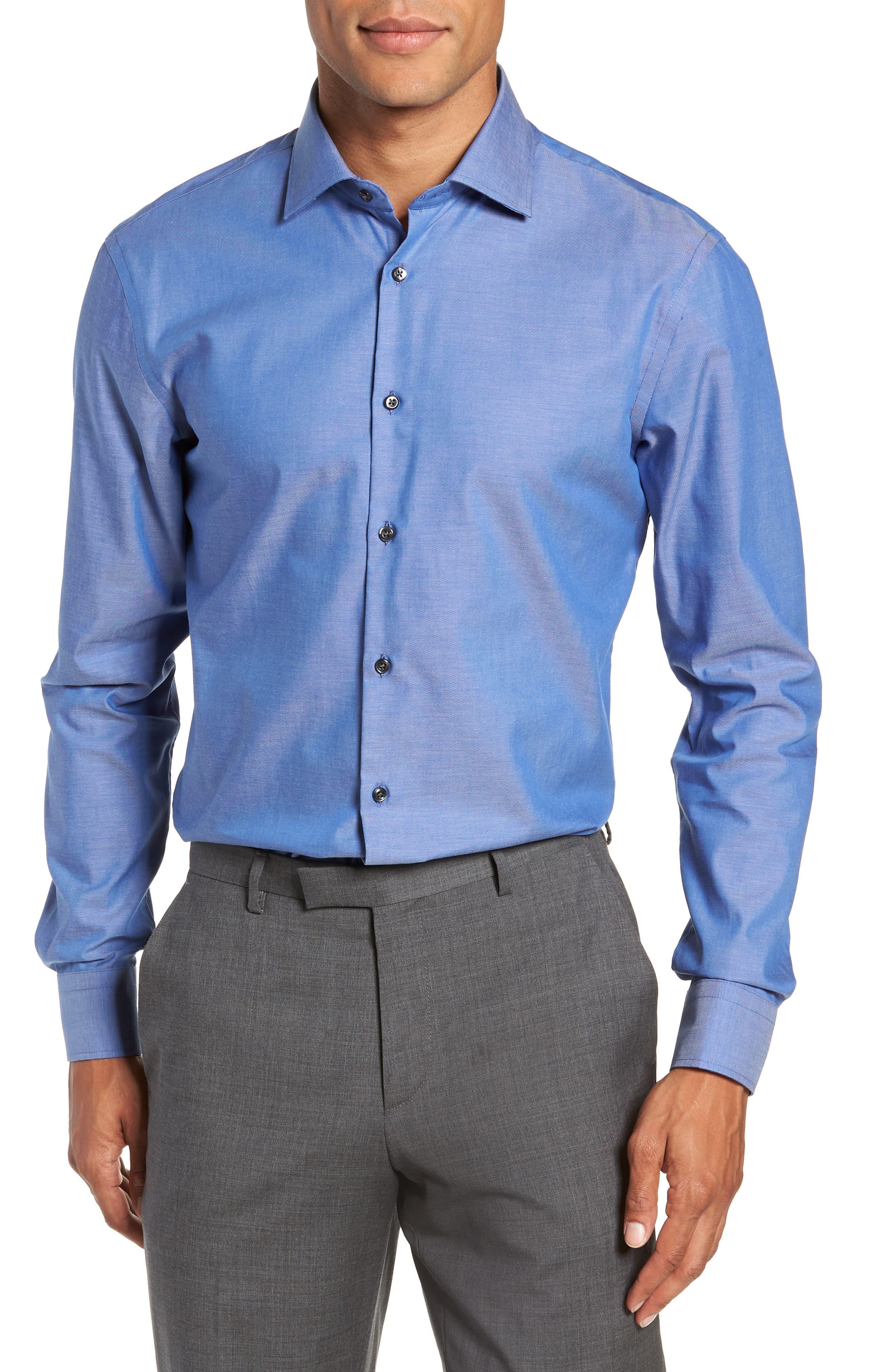 Extra Trim Fit Non-Iron Solid Dress Shirt,                         Main,                         color, BLUE DENIM