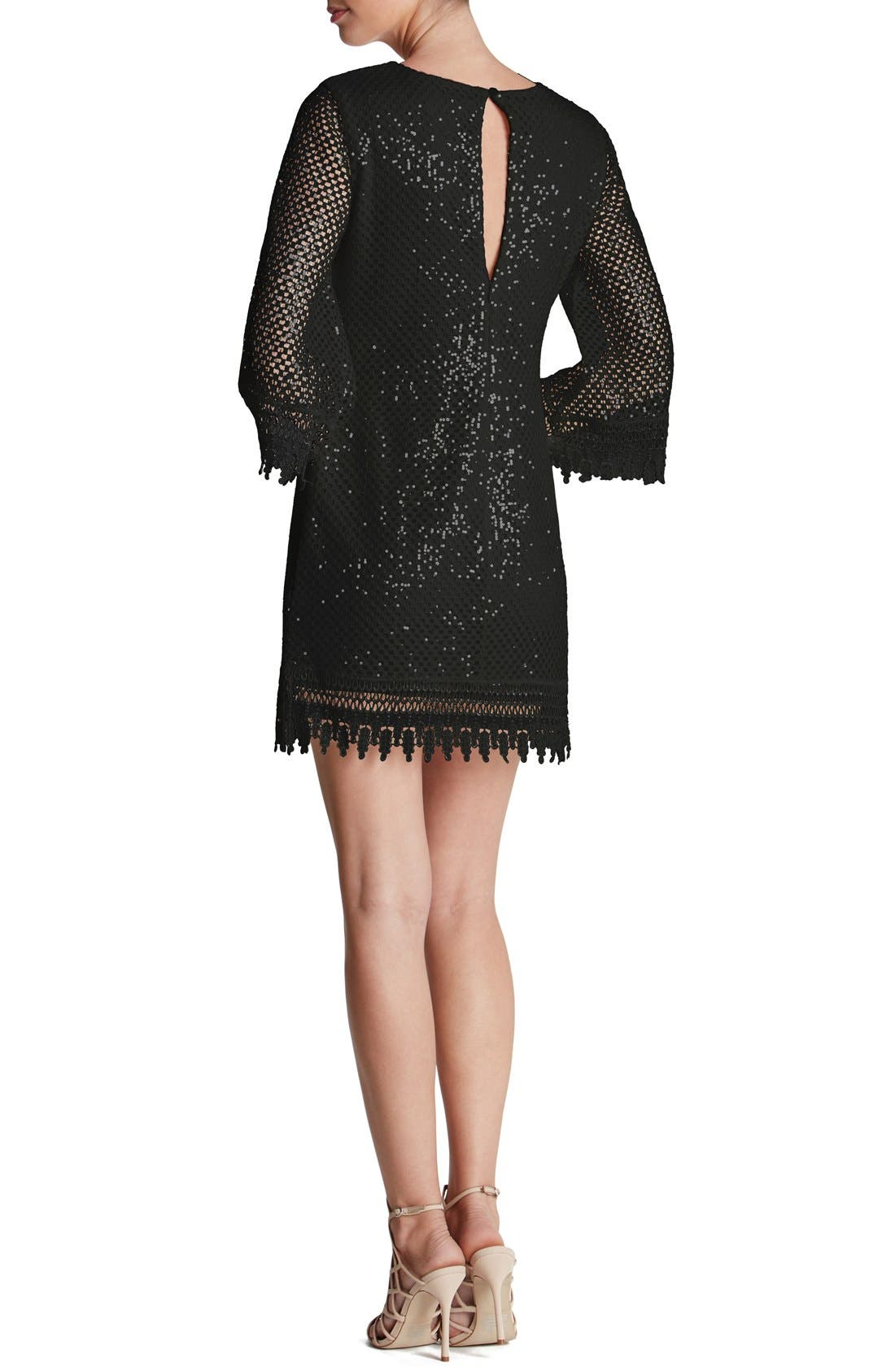 'Phoebe' Sequin Crochet Shift Dress,                             Alternate thumbnail 2, color,                             001