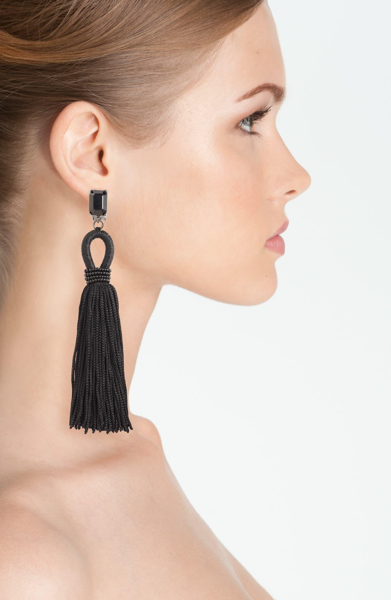 Long Silk Tassel Clip-On Earrings,                             Alternate thumbnail 2, color,                             001