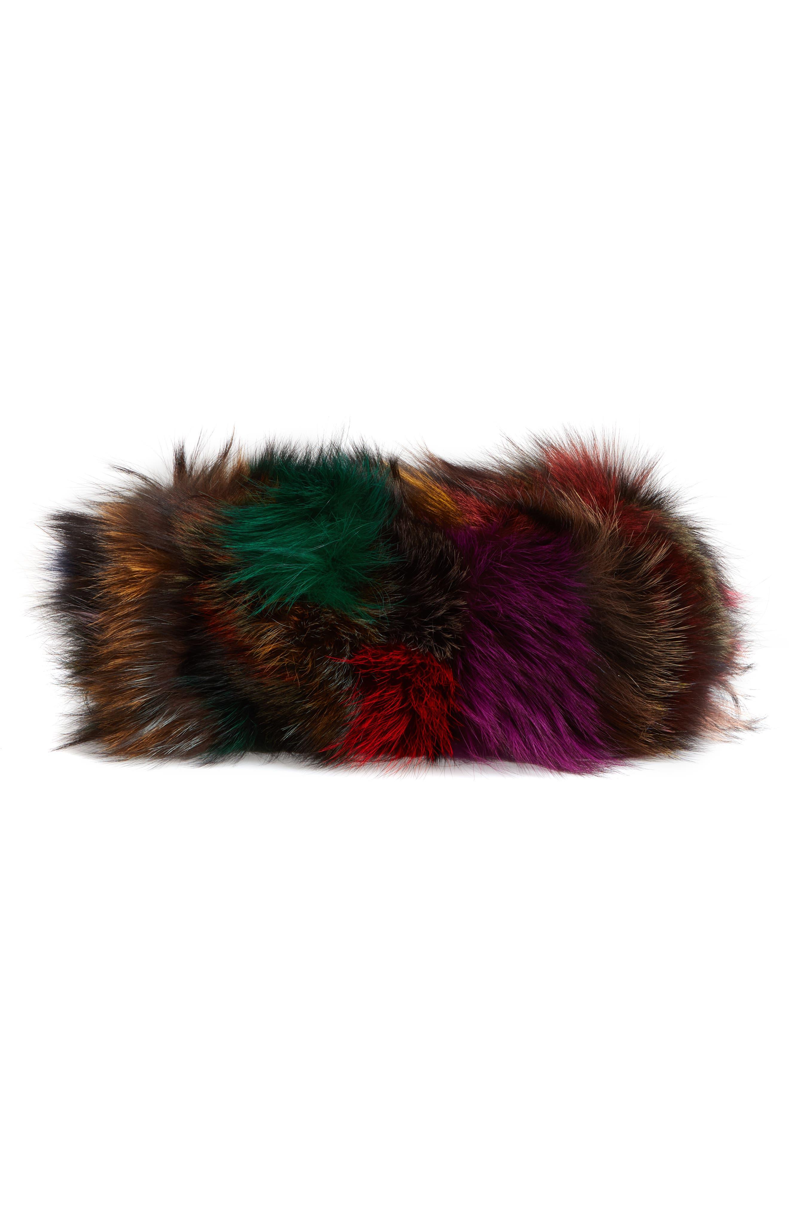 Elmo Genuine Silver Fox Fur Shoulder Bag,                             Alternate thumbnail 7, color,                             BLUE MULTI