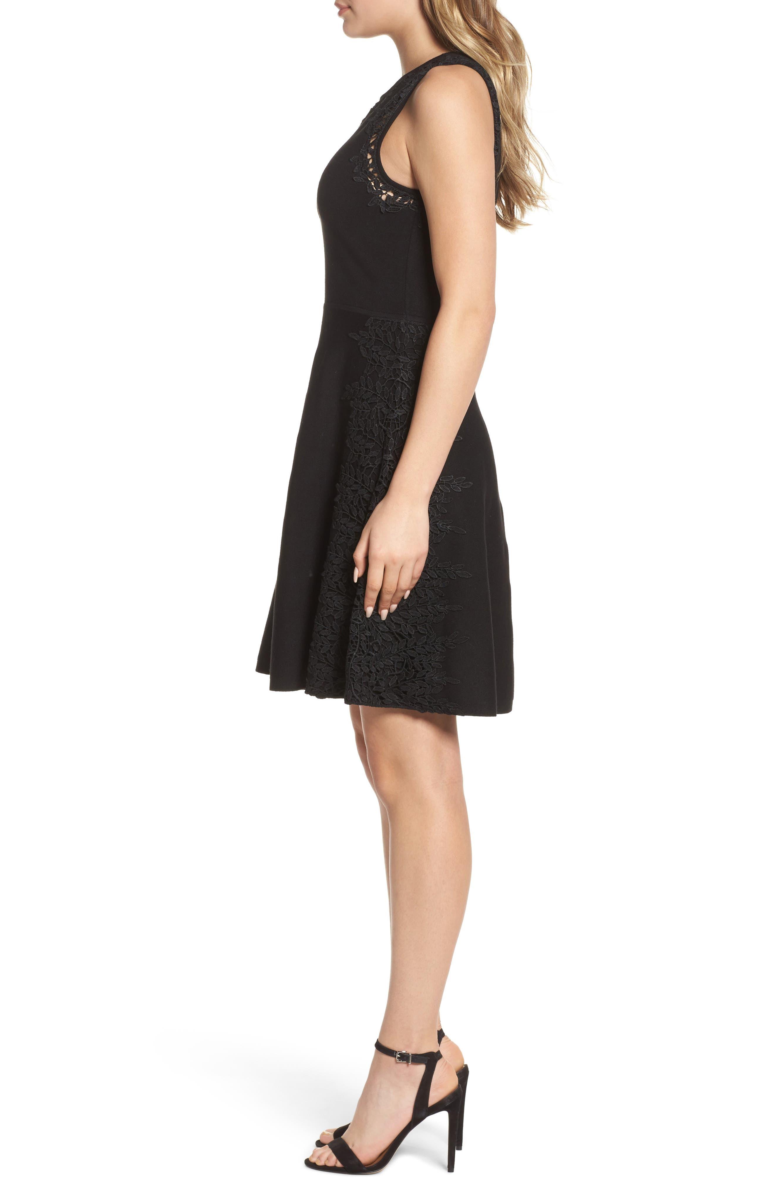 Lace Inset Fit & Flare Dress,                             Alternate thumbnail 3, color,                             001