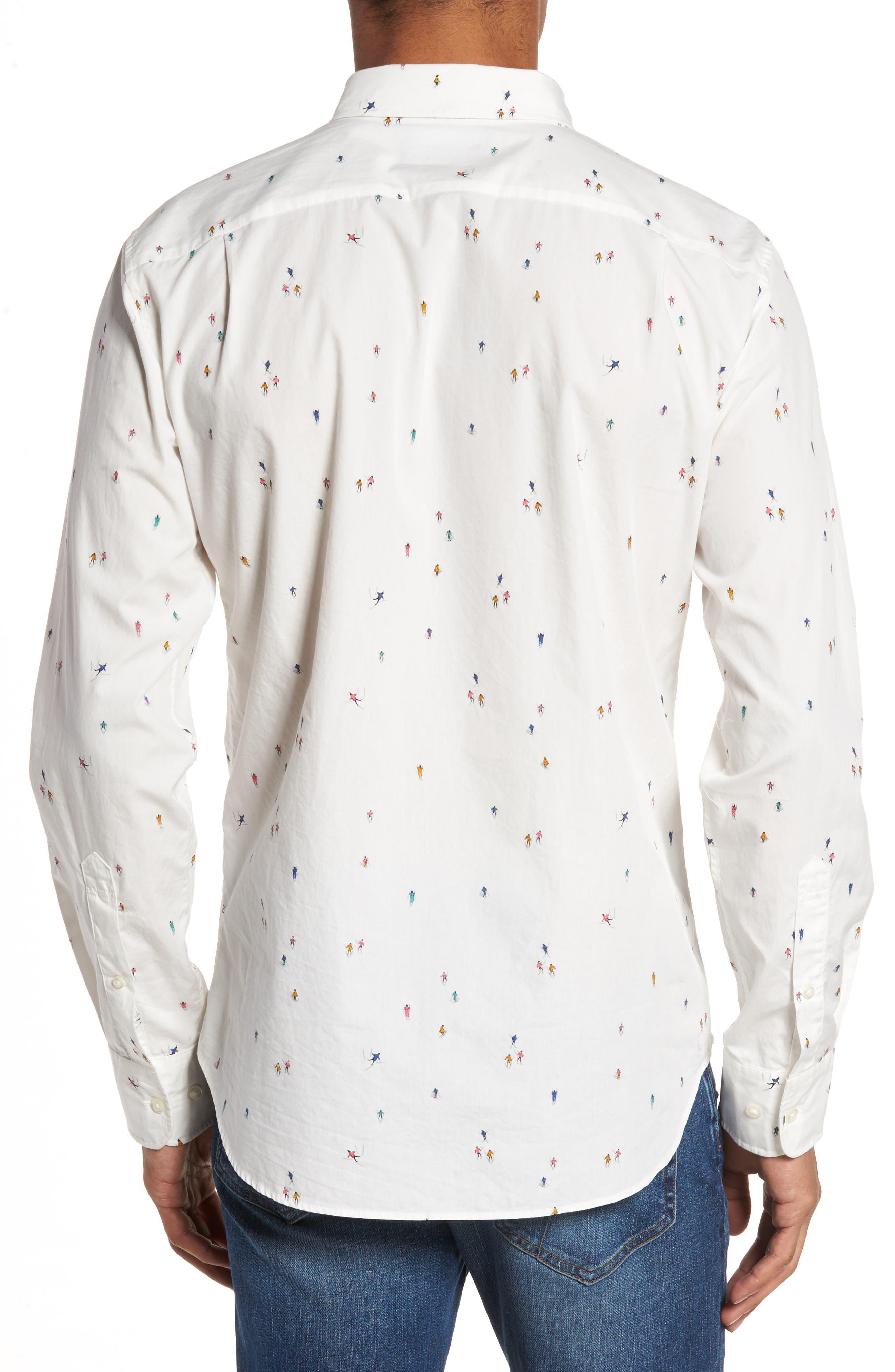 Slim Fit Skier Print Sport Shirt,                             Alternate thumbnail 2, color,                             100