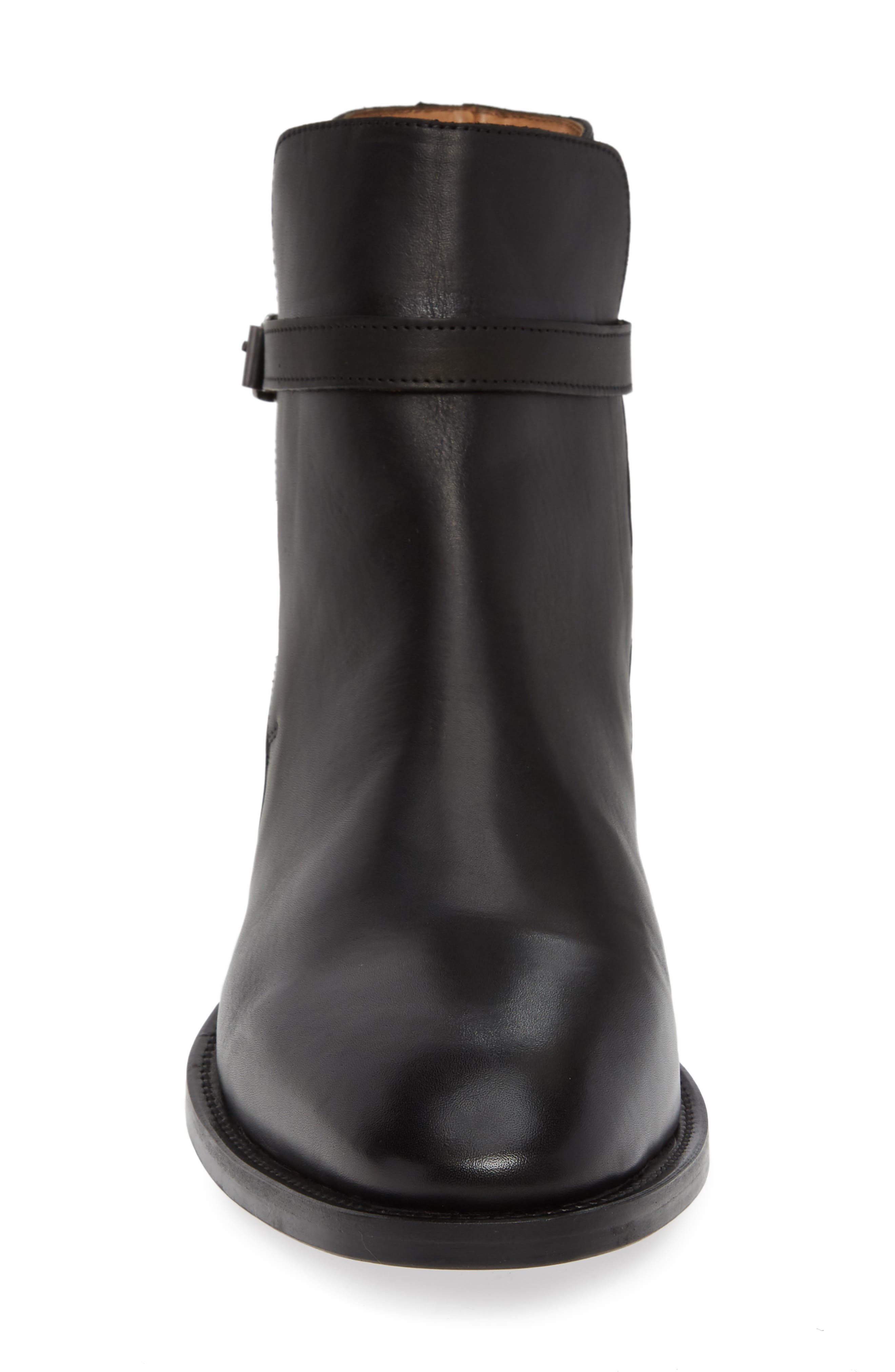 Hop Buckle Strap Boot,                             Alternate thumbnail 4, color,                             BLACK LEATHER