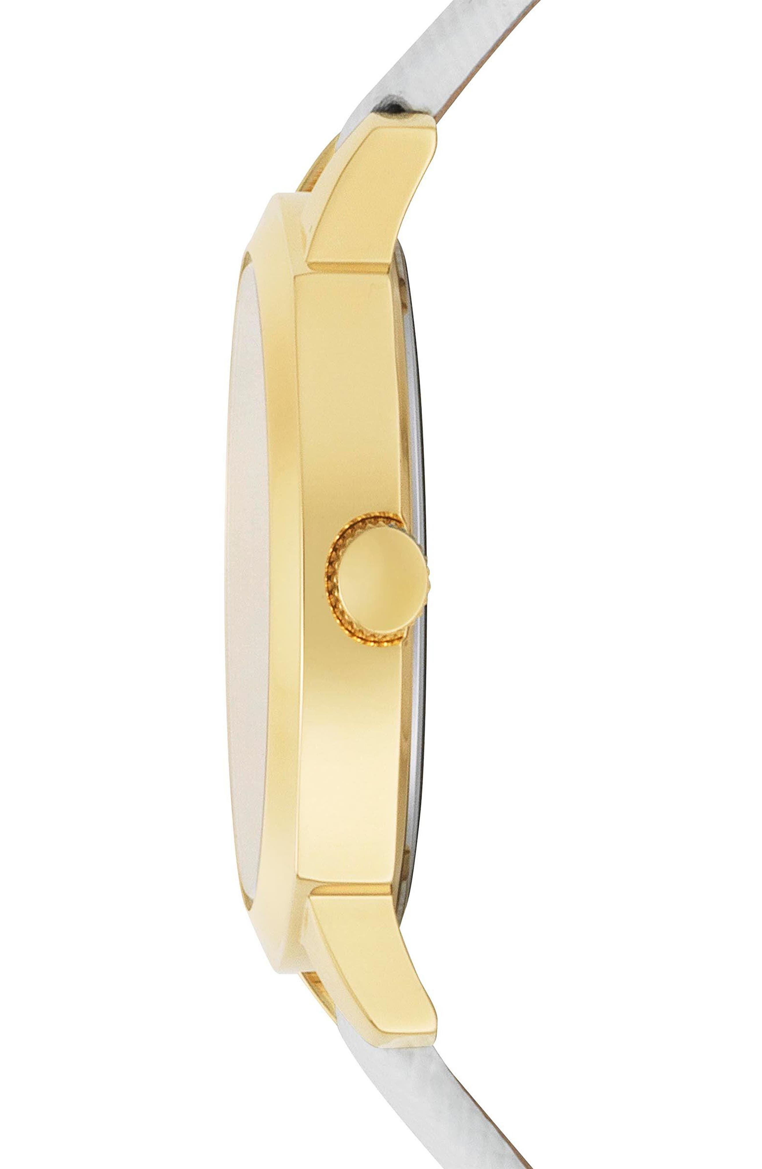 Chelsea Leather Strap Watch, 34mm,                             Alternate thumbnail 2, color,                             WHITE/ SILVER/ GOLD