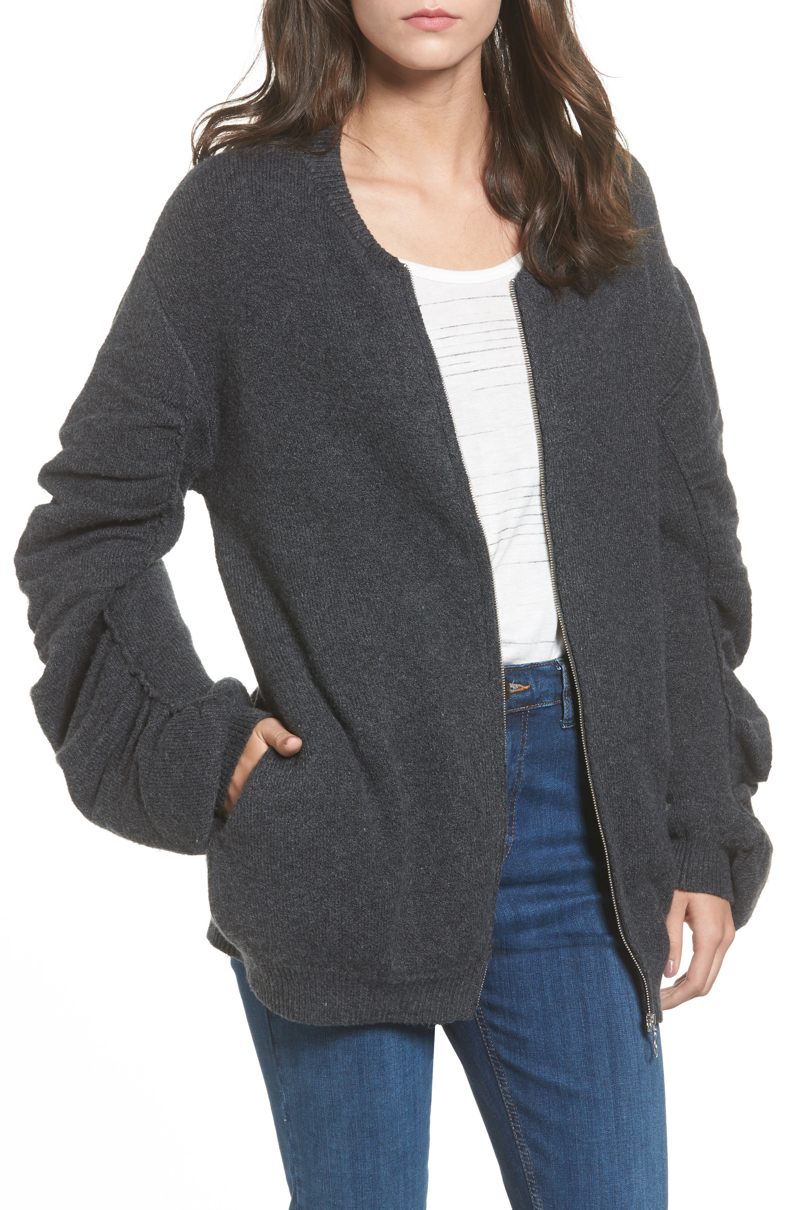 Knit Ruched Sleeve Bomber,                             Main thumbnail 1, color,                             030