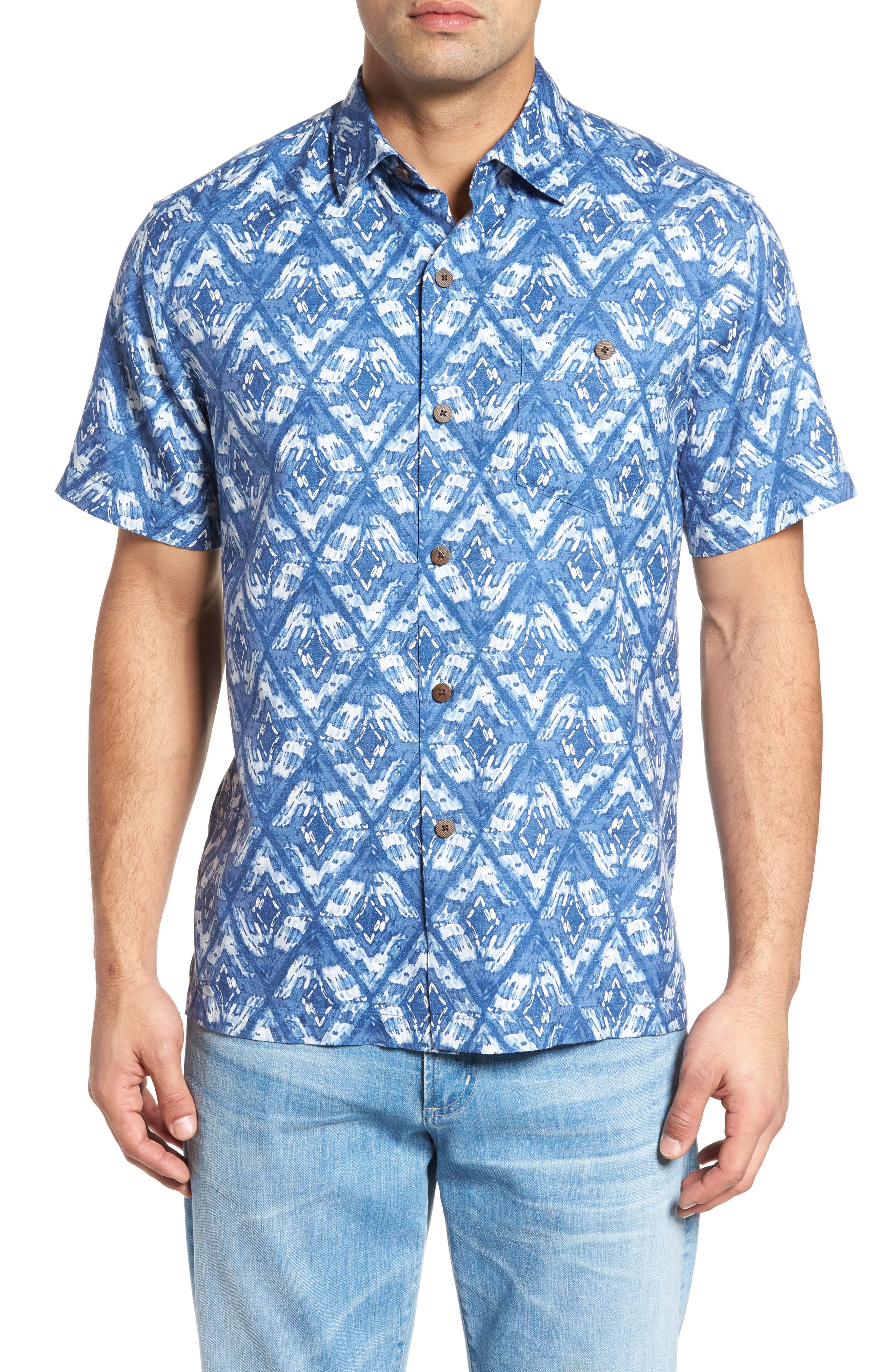 Deep Water Diamond Camp Shirt,                             Main thumbnail 1, color,