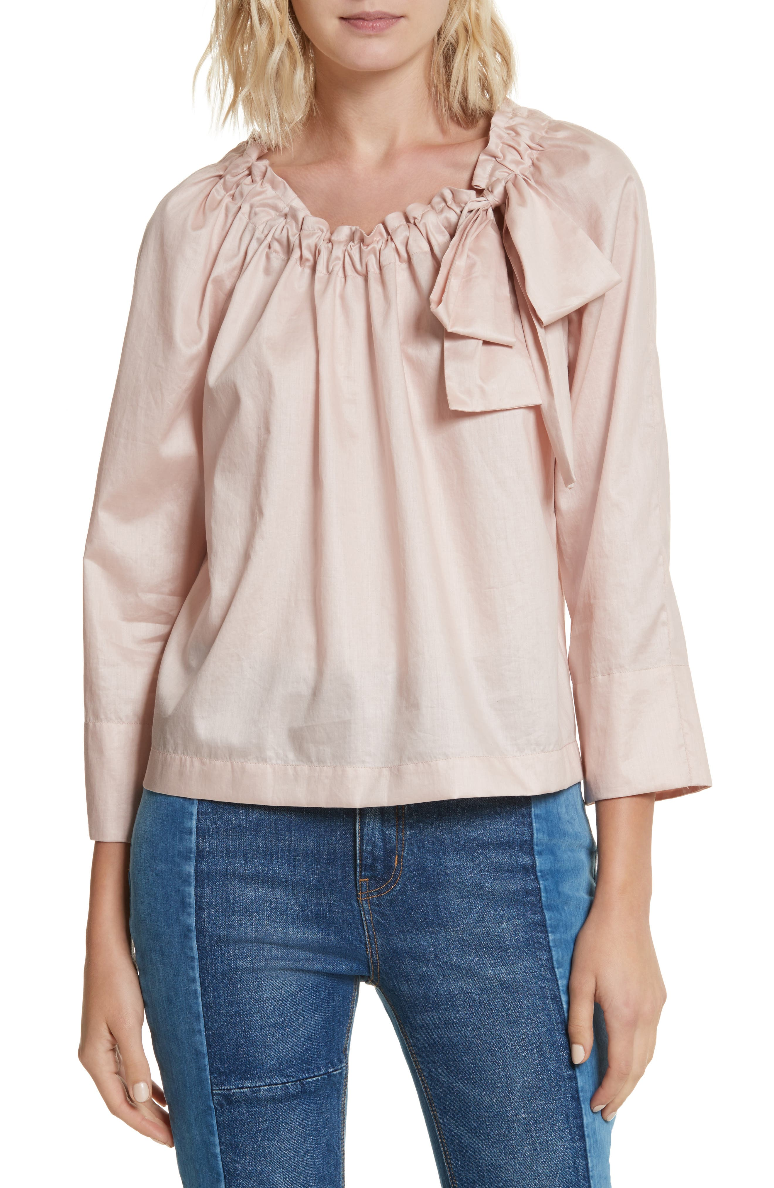 Bow Neck Washed Sateen Top,                             Main thumbnail 1, color,                             693