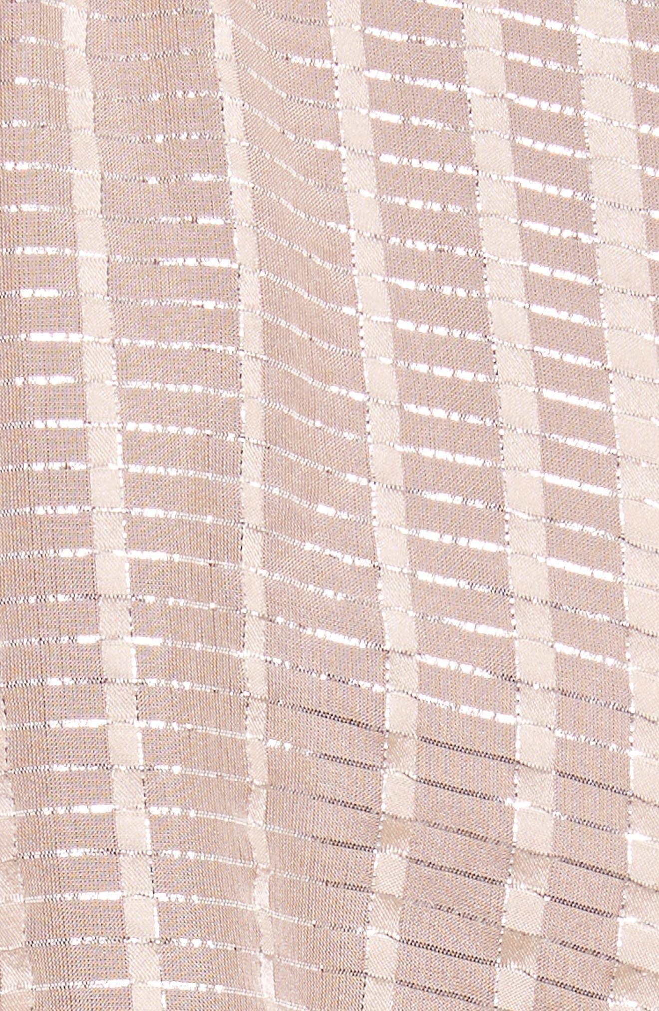 Metallic Plaid Silk Ruffle Top,                             Alternate thumbnail 5, color,                             652
