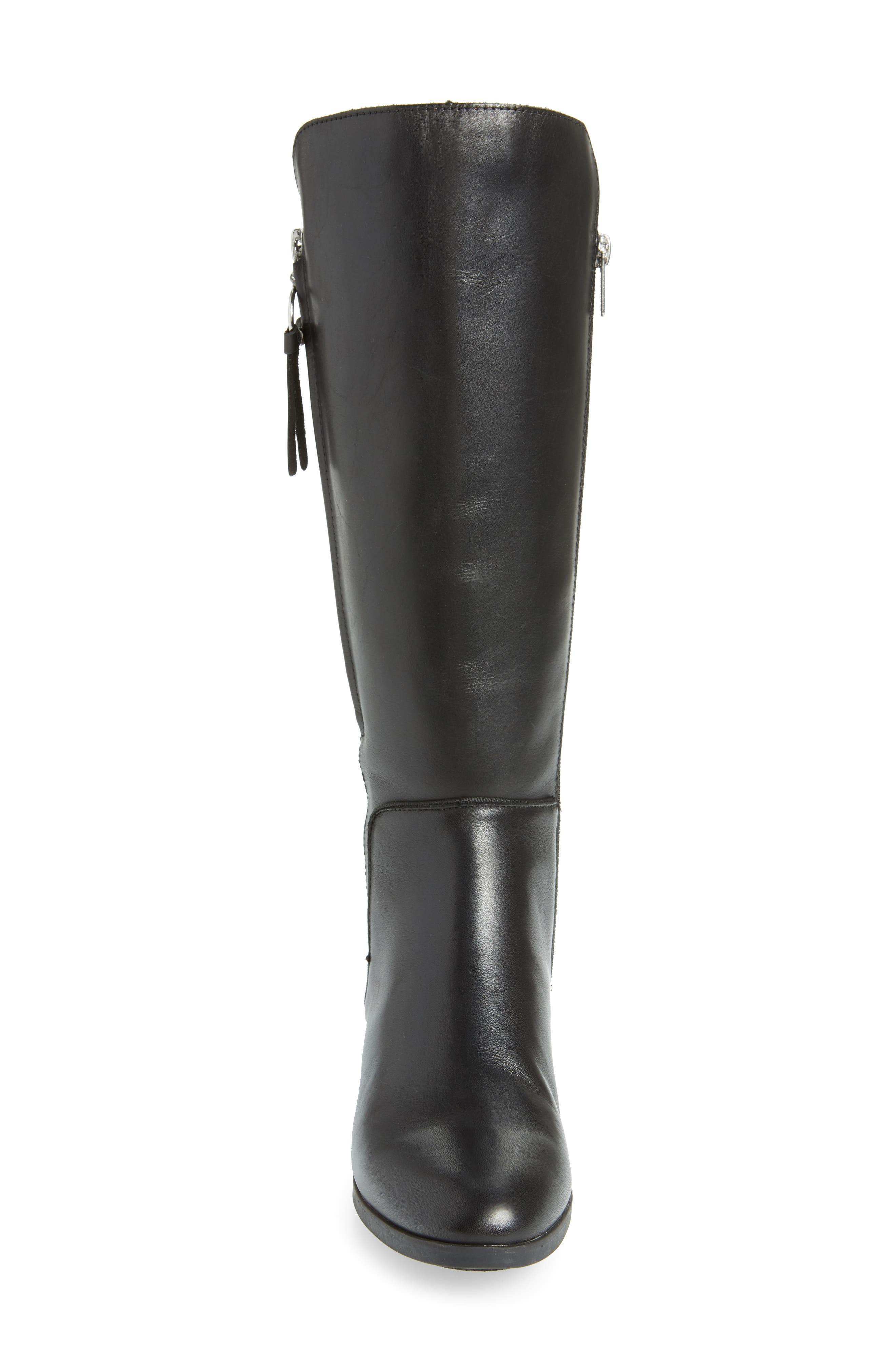 Daroca Knee High Boot,                             Alternate thumbnail 4, color,                             BLACK LEATHER