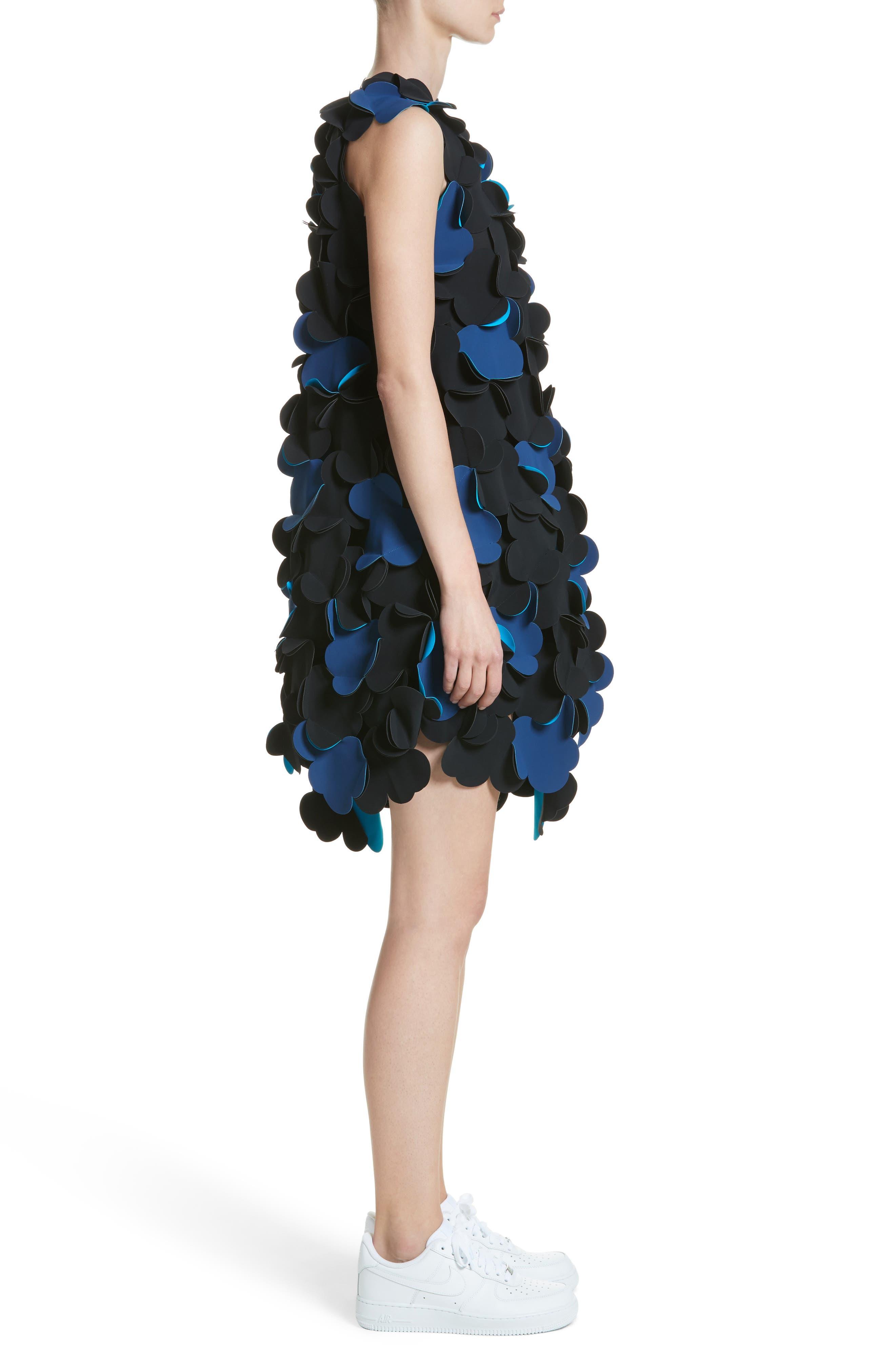 Laser Cut Appliqué Asymmetrical Dress,                             Alternate thumbnail 3, color,                             001