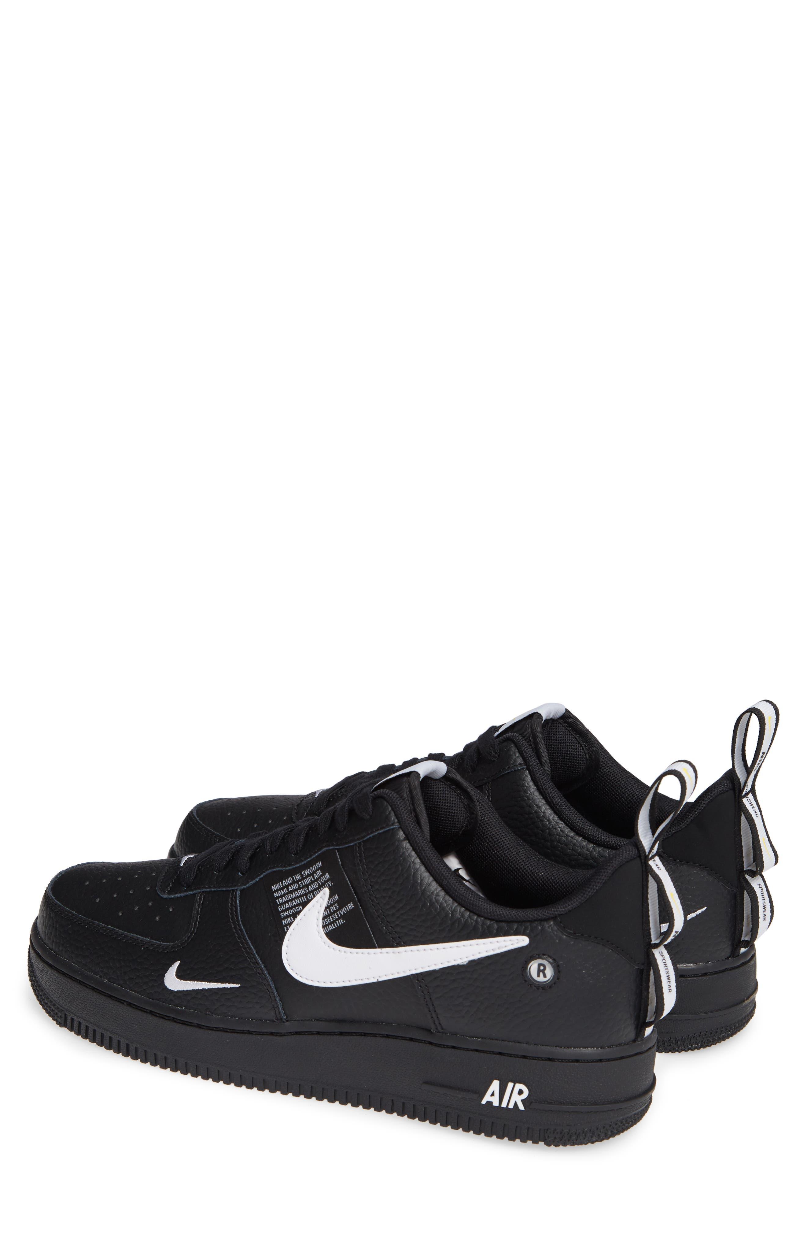 Air Force 1 '07 LV8 Utility Sneaker,                             Alternate thumbnail 3, color,                             BLACK/ WHITE/ TOUR YELLOW
