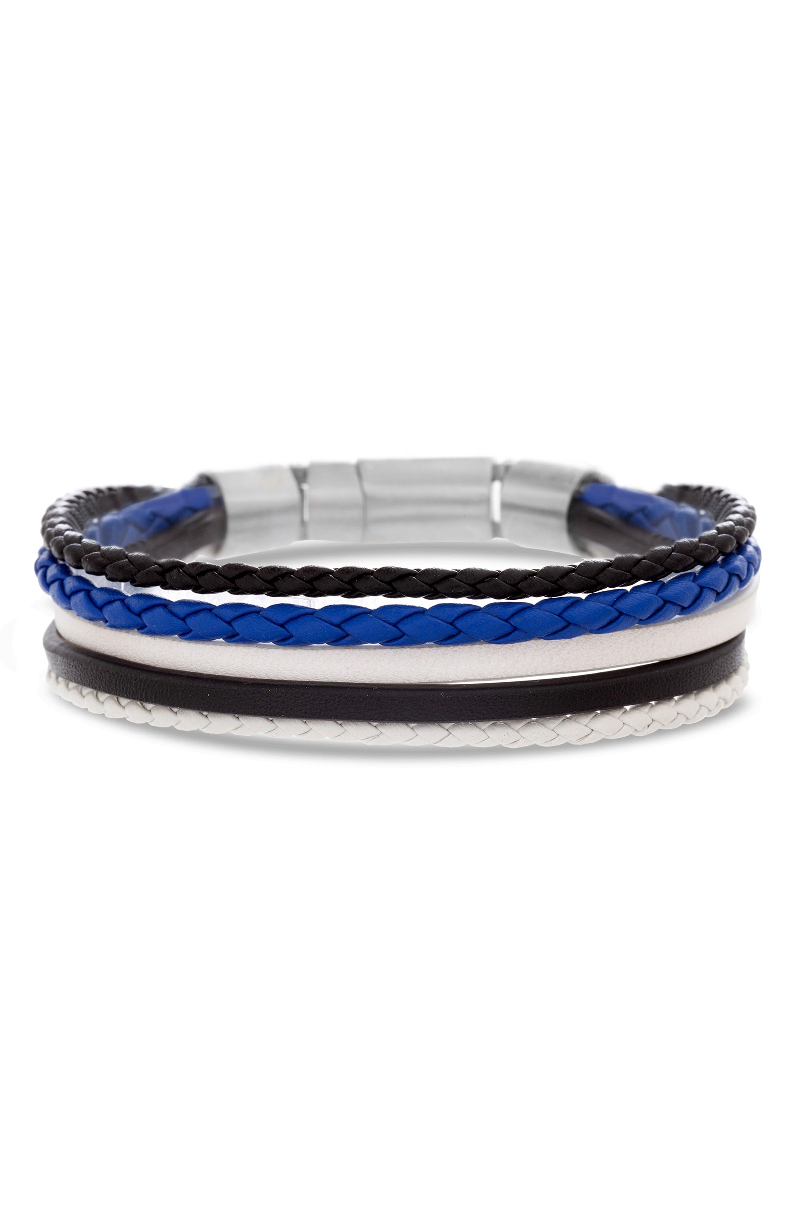 BEN SHERMAN Steel & Leather Bracelet in Black/ Blue/ White