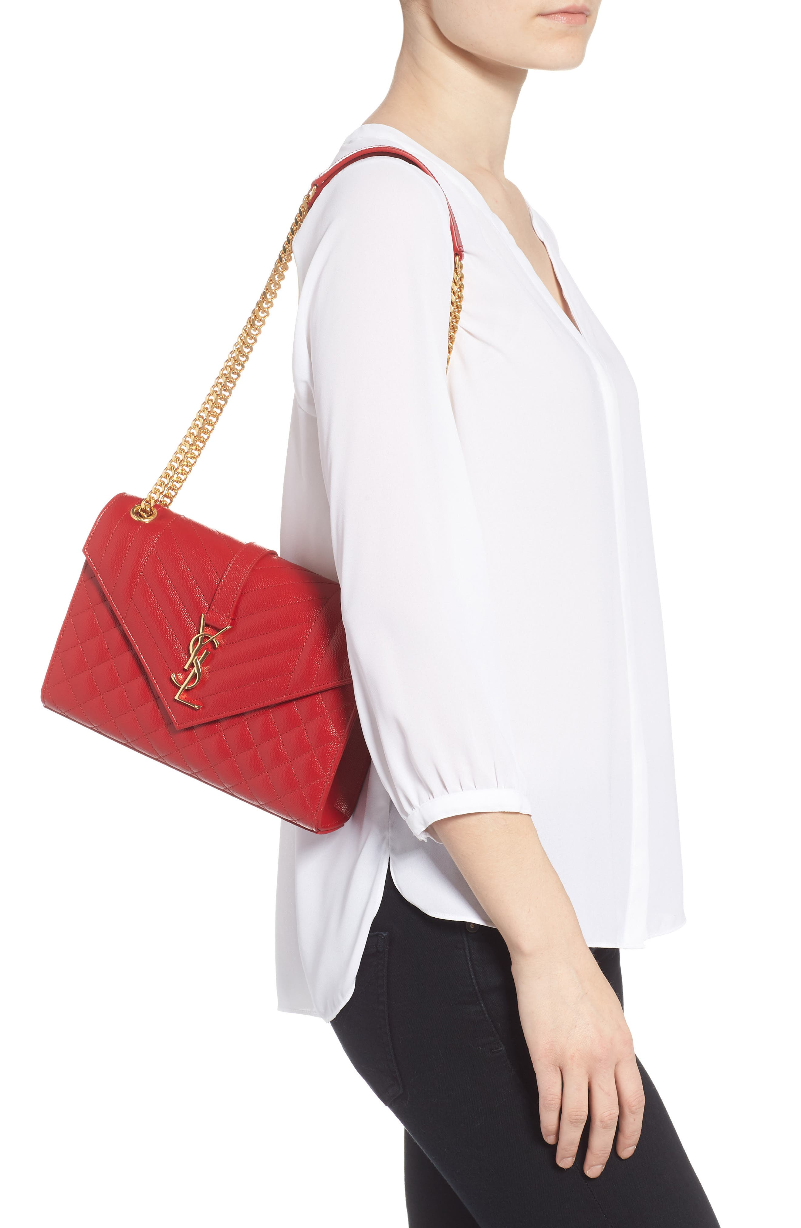Medium Cassandre Calfskin Shoulder Bag,                             Alternate thumbnail 2, color,                             BANDANA RED