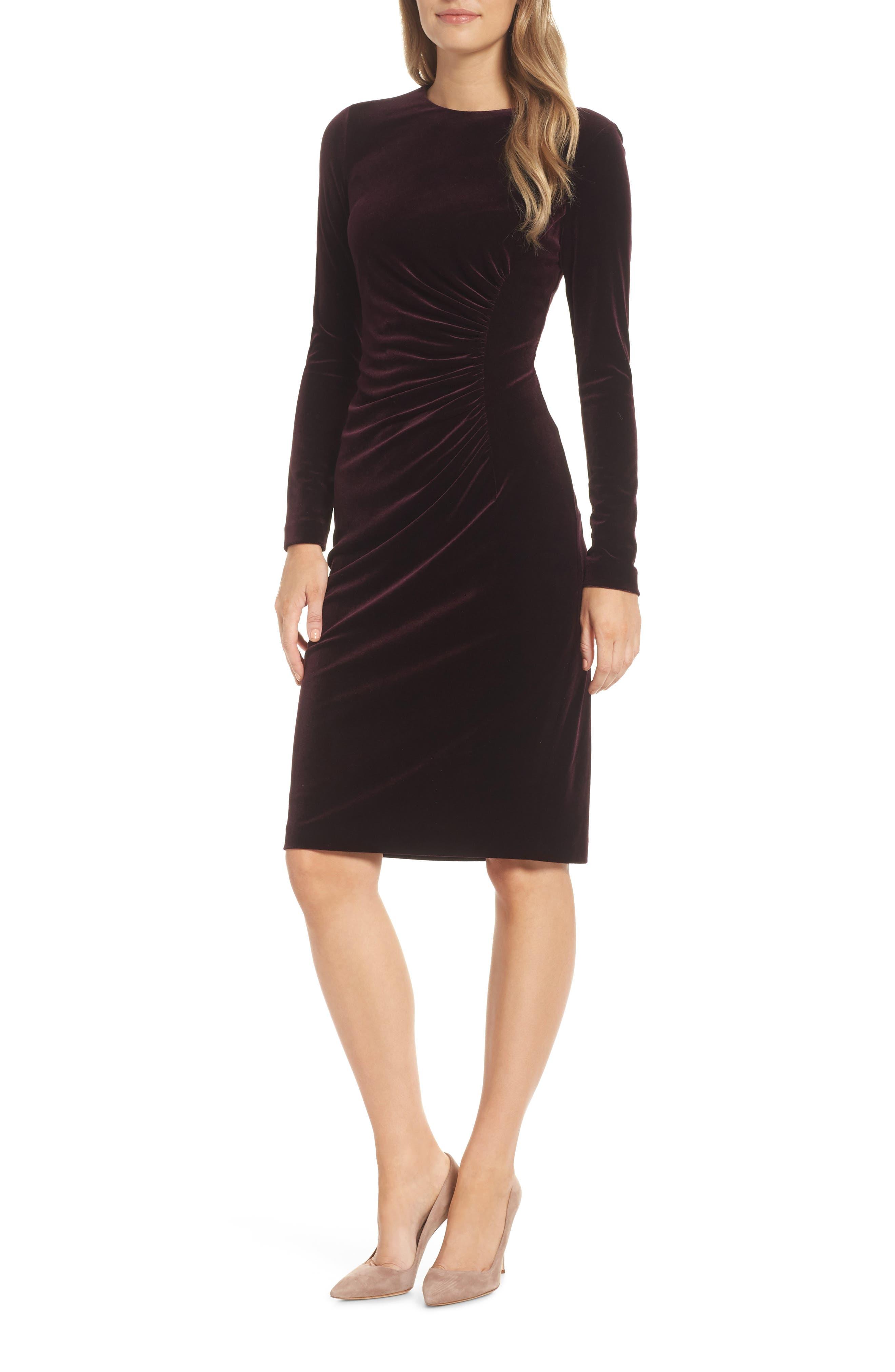 Petite Harper Rose Long Sleeve Body-Con Dress, Burgundy