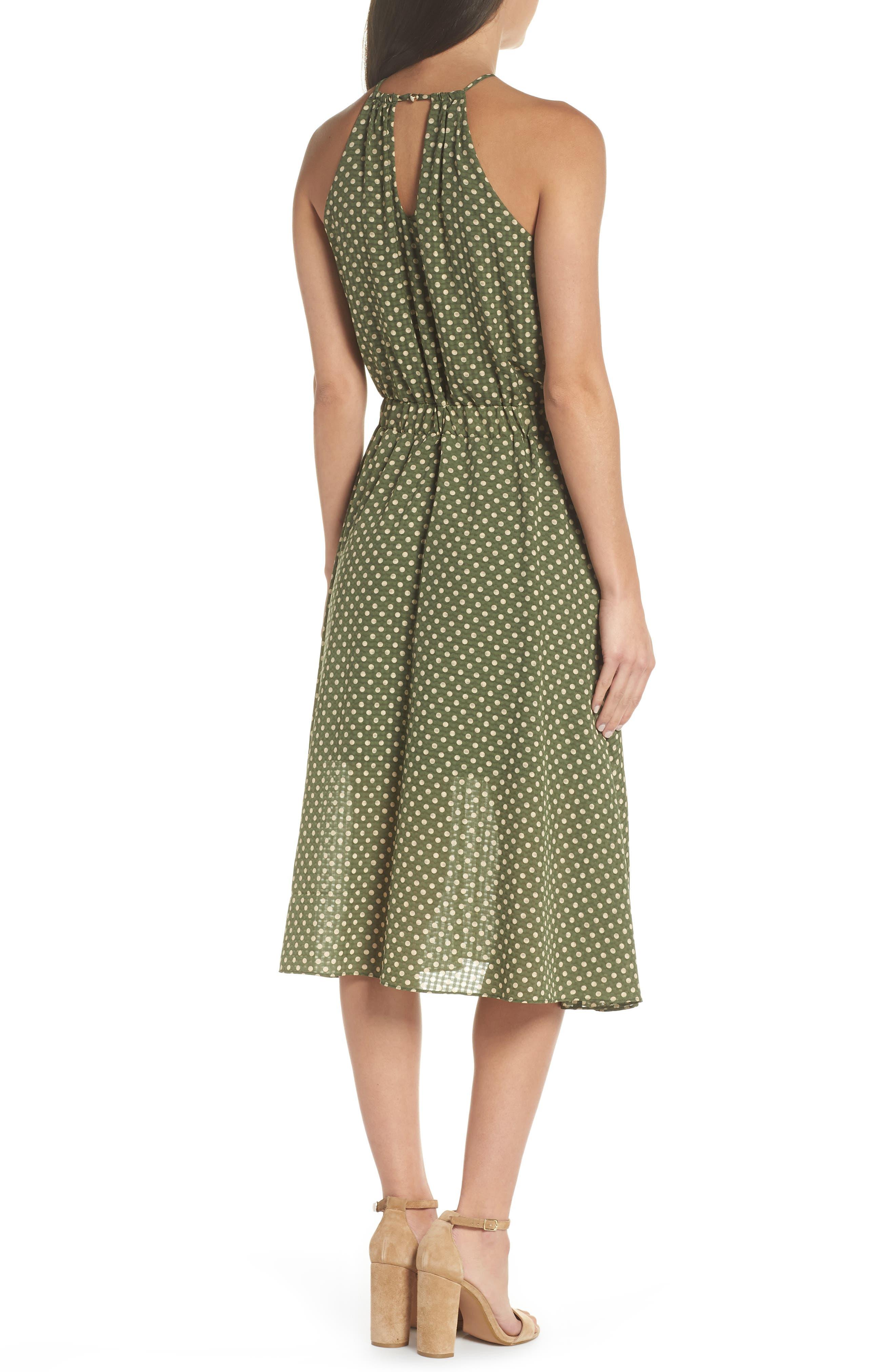Polka Dot Halter Dress,                             Alternate thumbnail 2, color,                             350