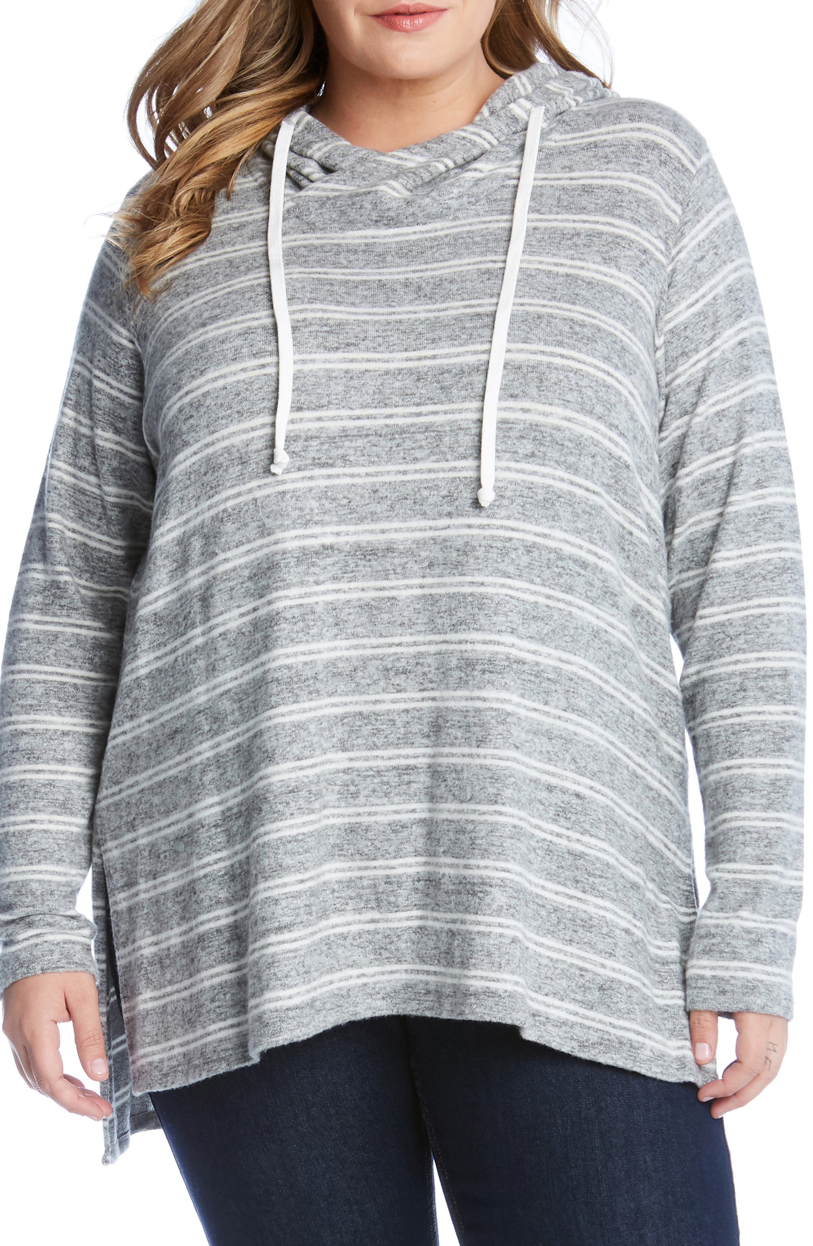 Plus Size Karen Kane Stripe Hoodie, Beige
