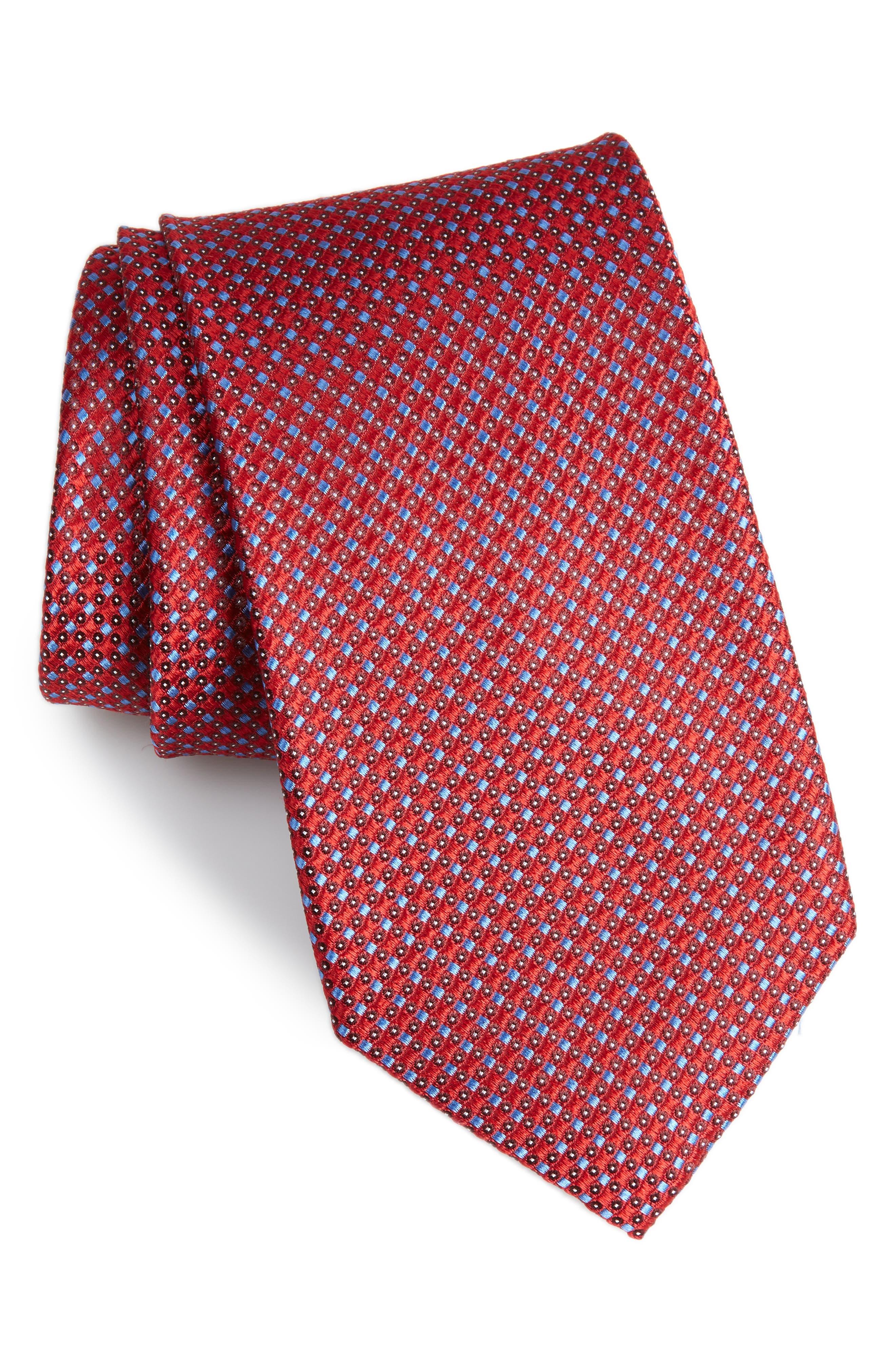 NORDSTROM MEN'S SHOP,                             Bagni Check Silk Tie,                             Main thumbnail 1, color,                             RED