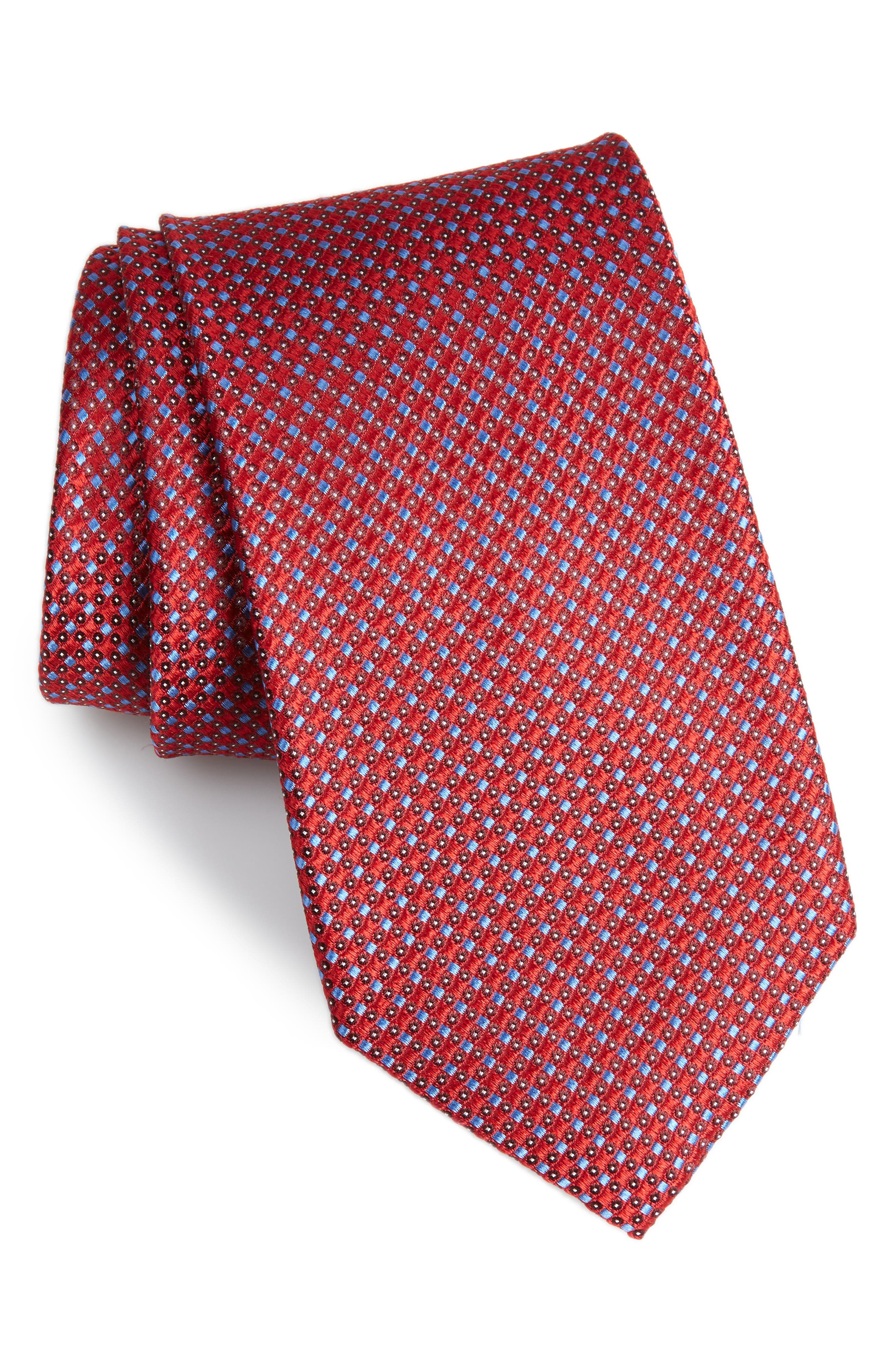 NORDSTROM MEN'S SHOP Bagni Check Silk Tie, Main, color, RED