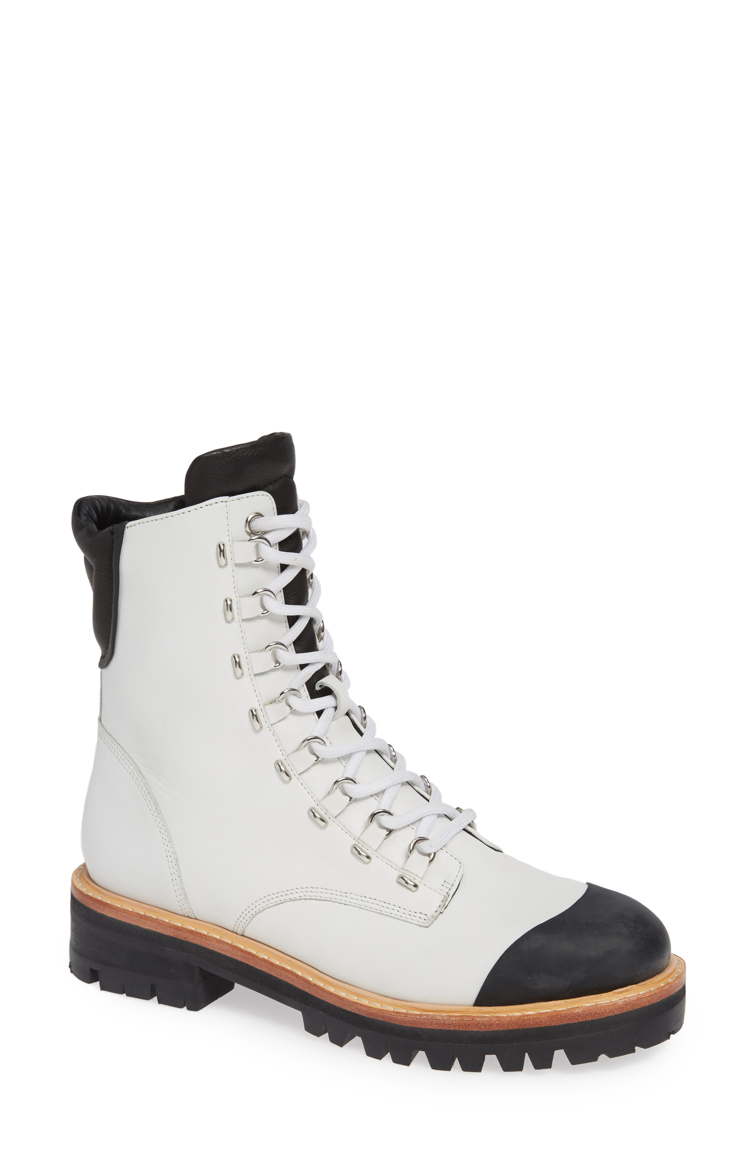 Women'S Irene Round Toe Leather Boots in Bianco/ Black
