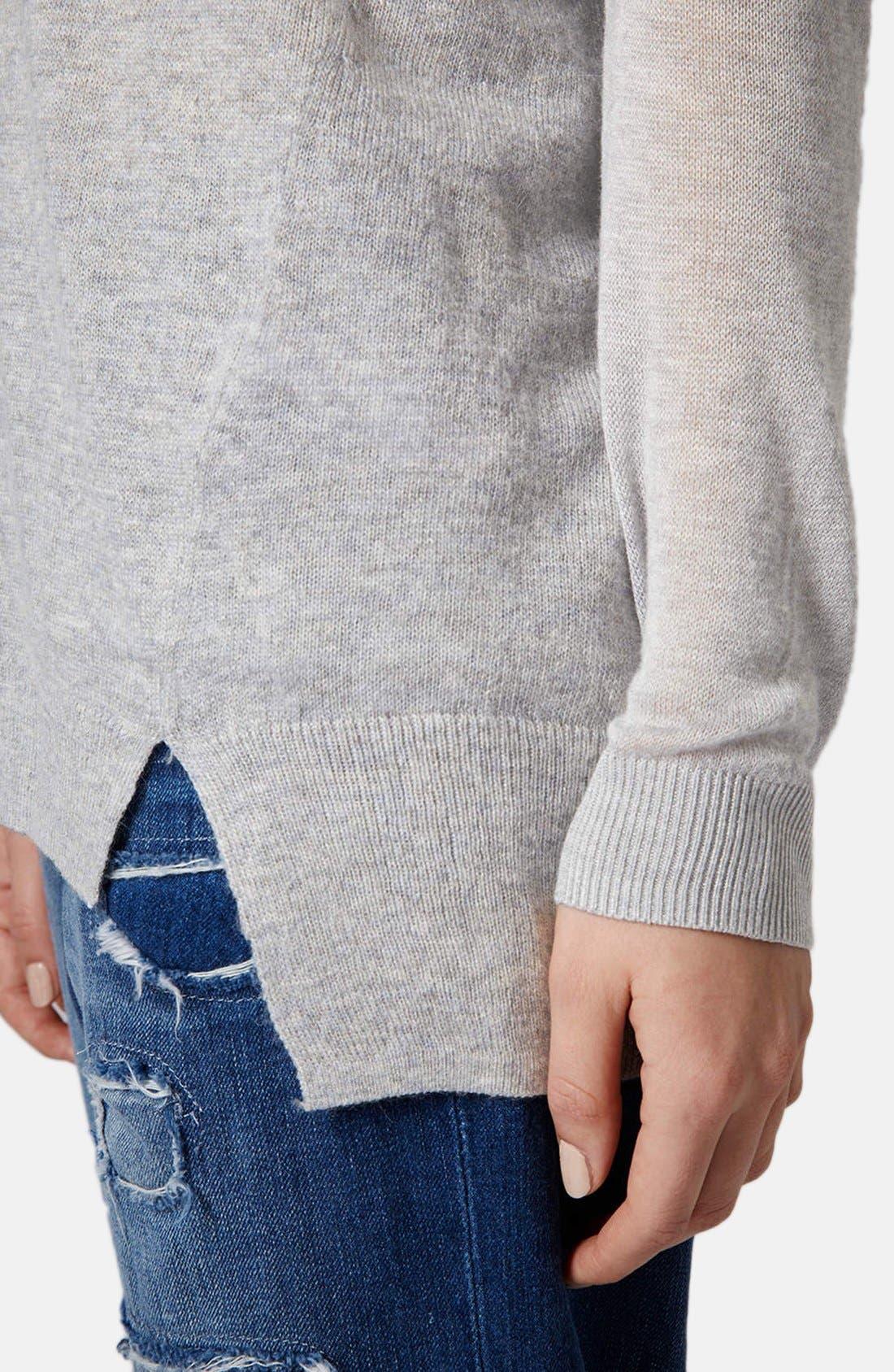 Sheer Sleeve Tunic Sweater,                             Alternate thumbnail 5, color,