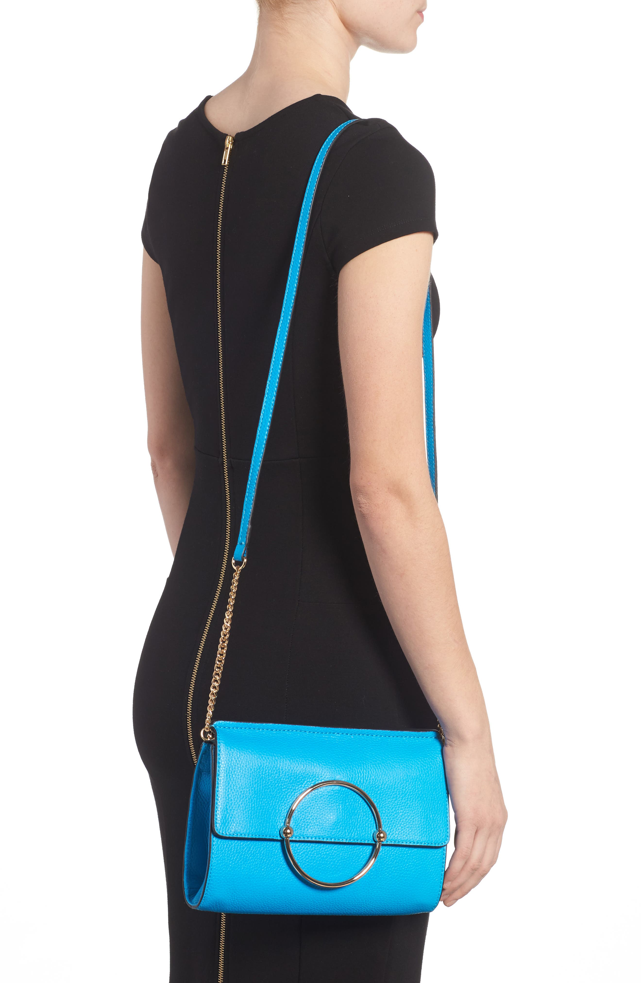 Astor Pebbled Leather Flap Clutch,                             Alternate thumbnail 7, color,