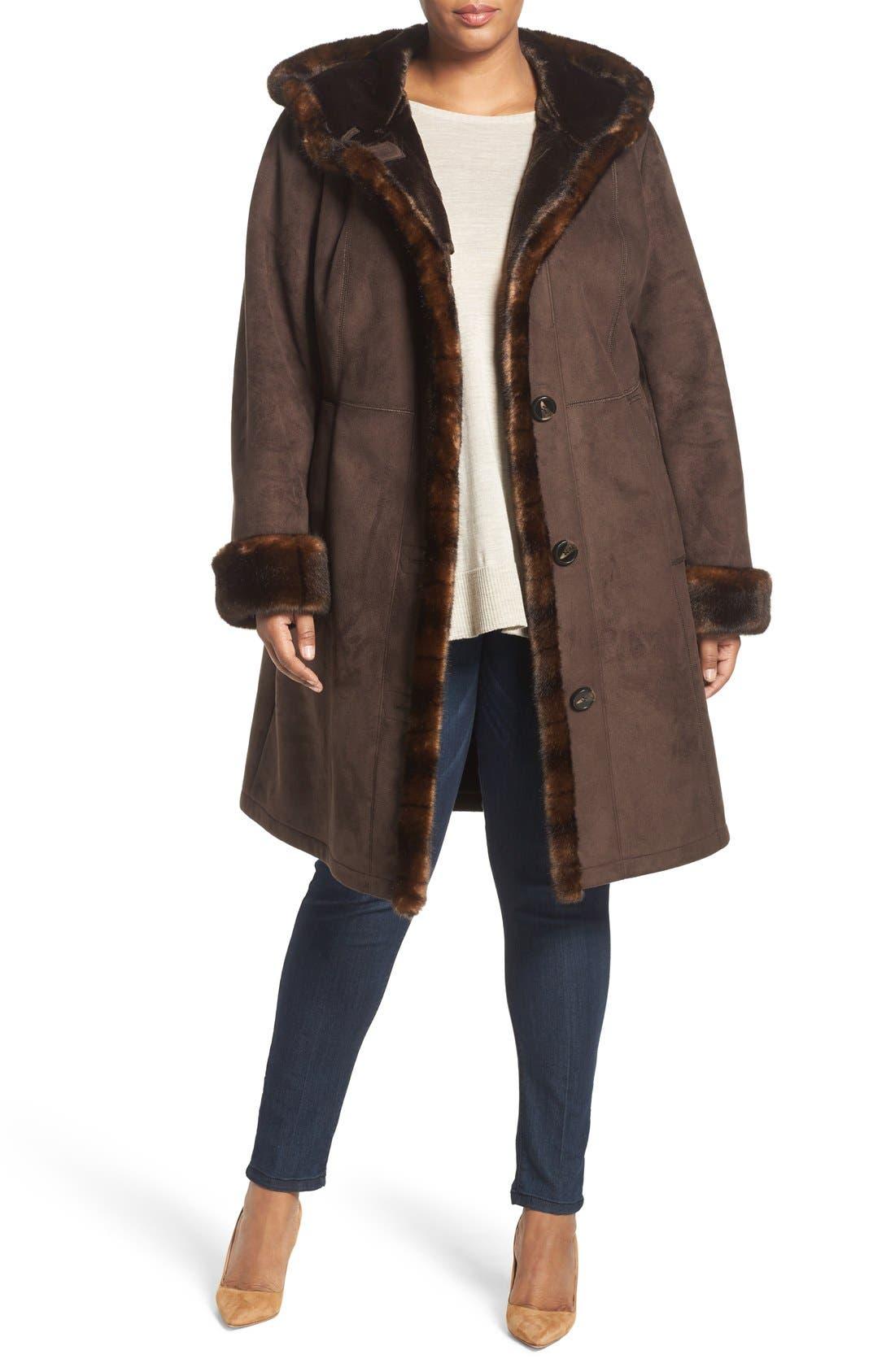 Faux Shearling A-Line Coat,                         Main,                         color, 204