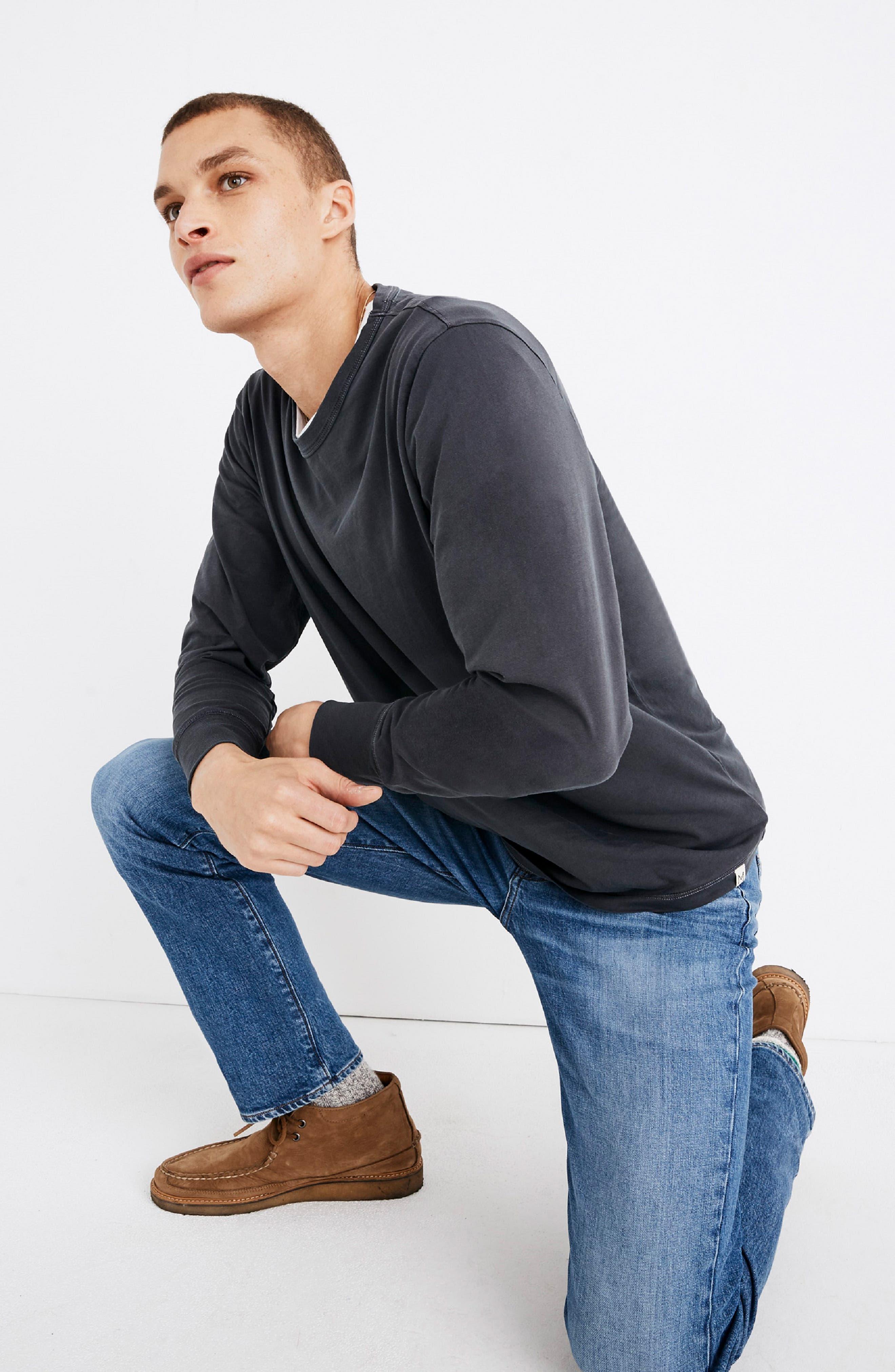Long Sleeve Slim T-Shirt,                             Alternate thumbnail 5, color,                             CLASSIC BLACK