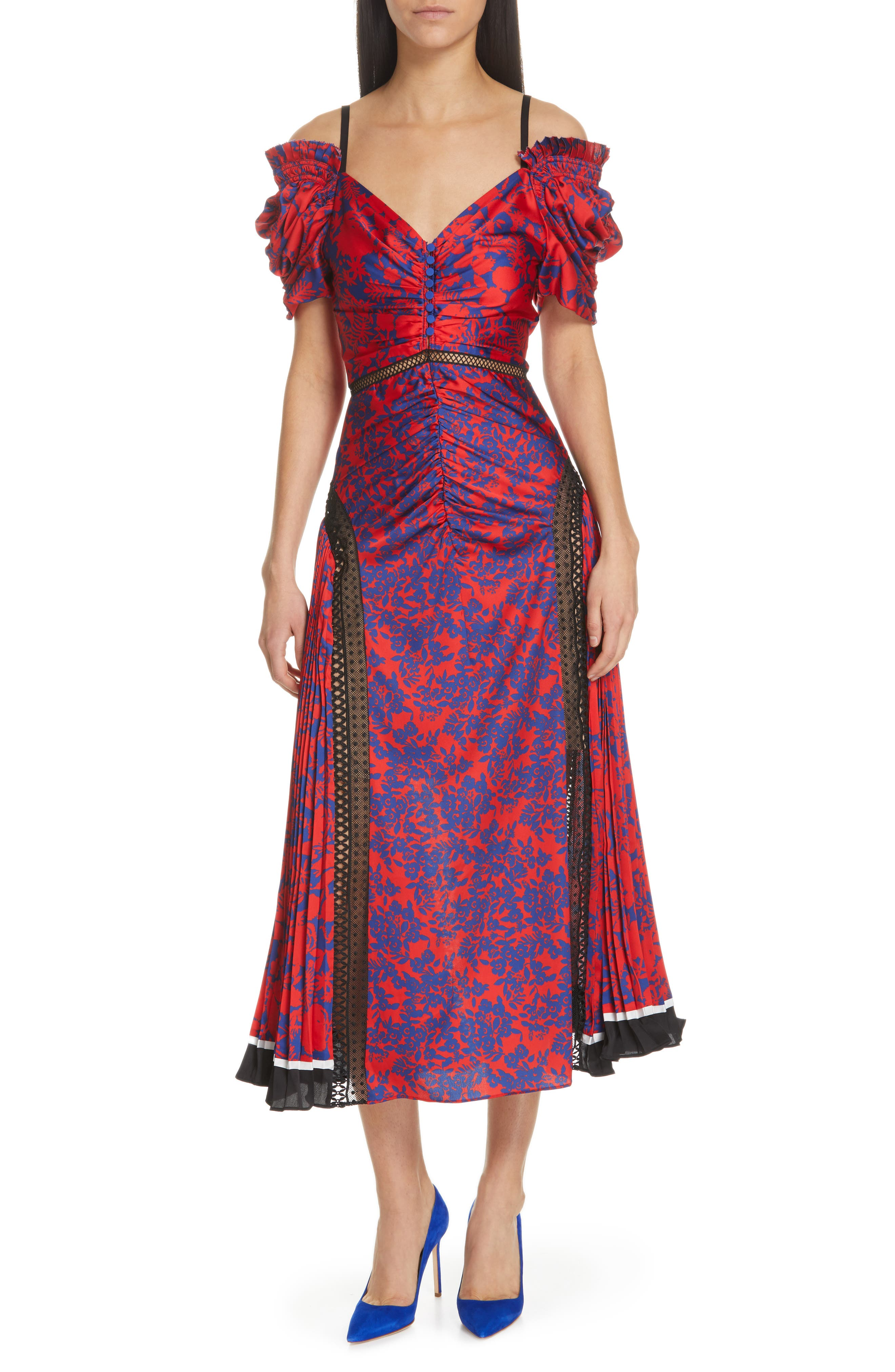 Self-Portrait Ruched & Pleated Floral Print Midi Dress, Red
