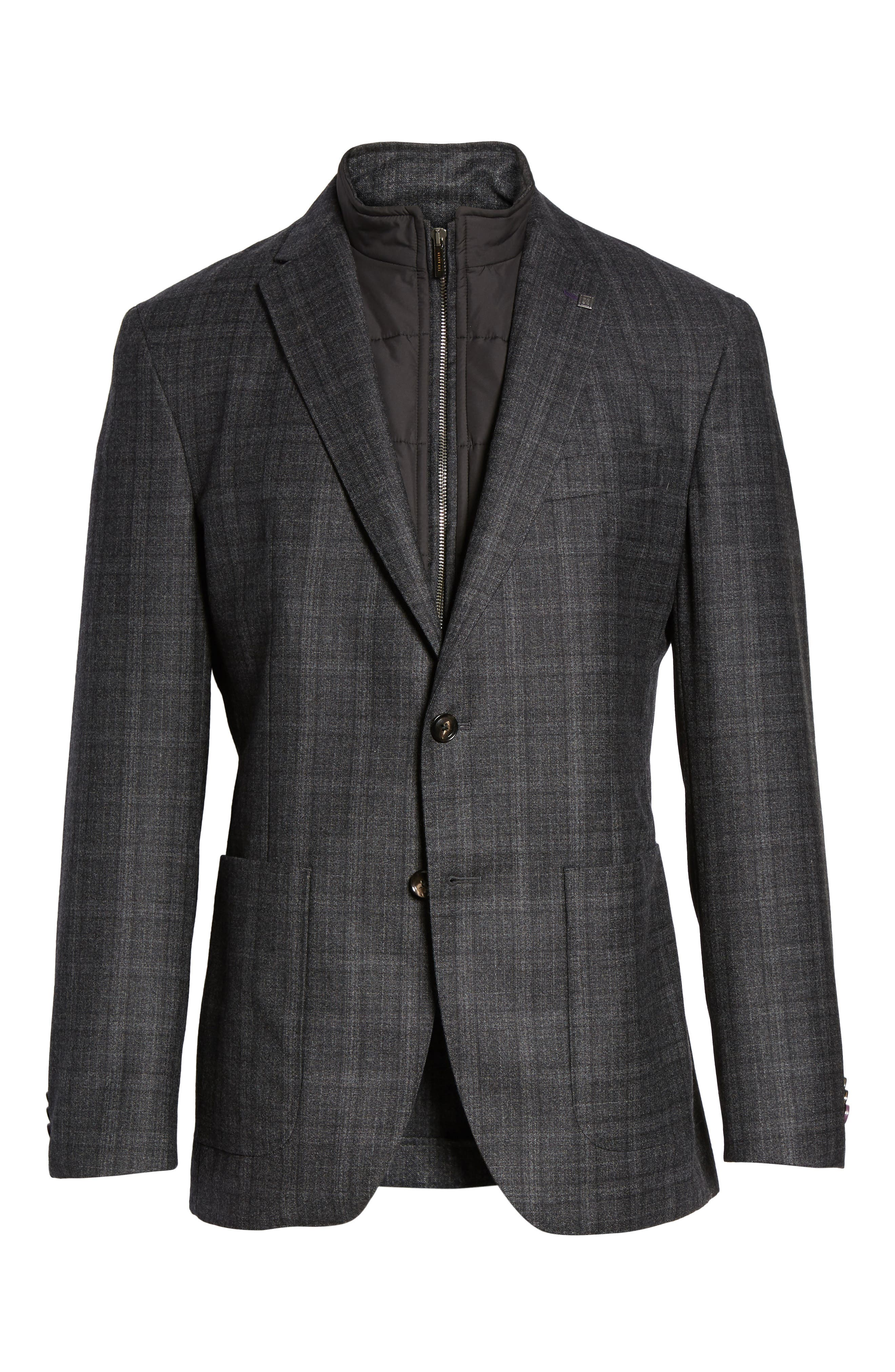 Trim Fit Plaid Wool Sport Coat,                             Alternate thumbnail 5, color,                             020