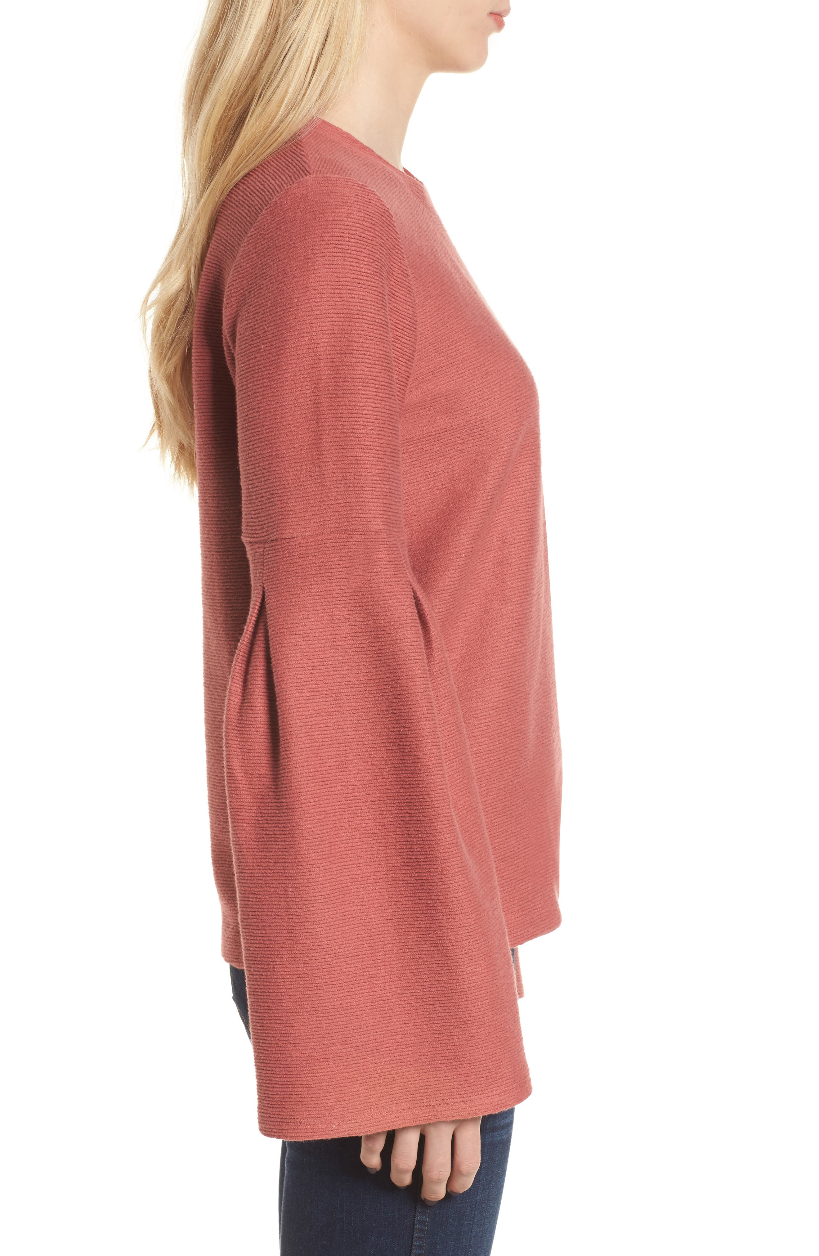 Flare Sleeve Ribbed Top,                             Alternate thumbnail 3, color,                             660
