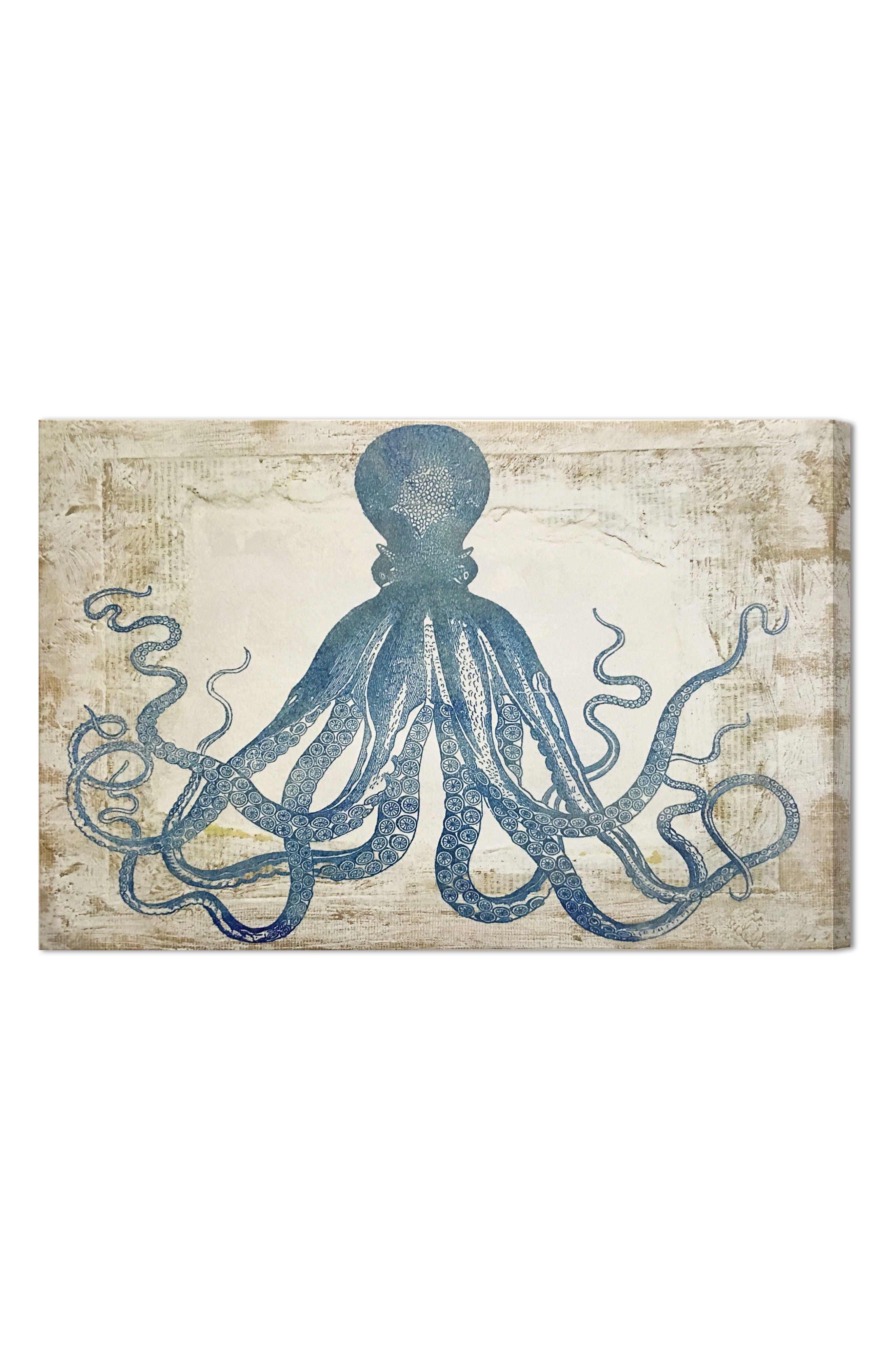 Wynwood Blue Squid Canvas Wall Art,                             Main thumbnail 1, color,                             250
