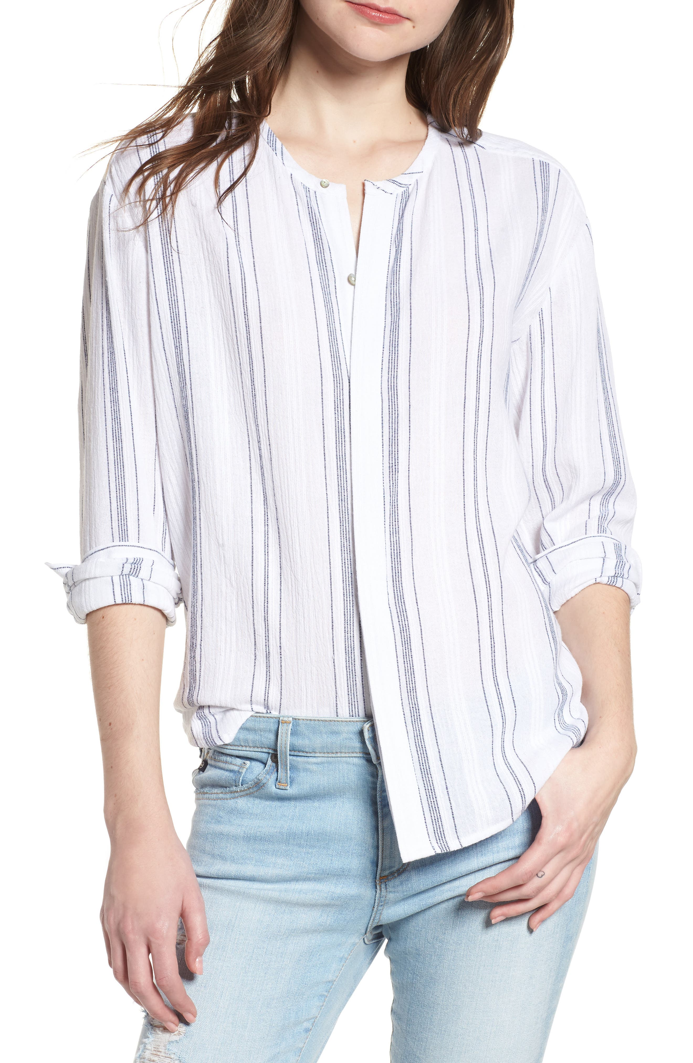 Carla Shirt,                         Main,                         color, WHITE/ NAVY