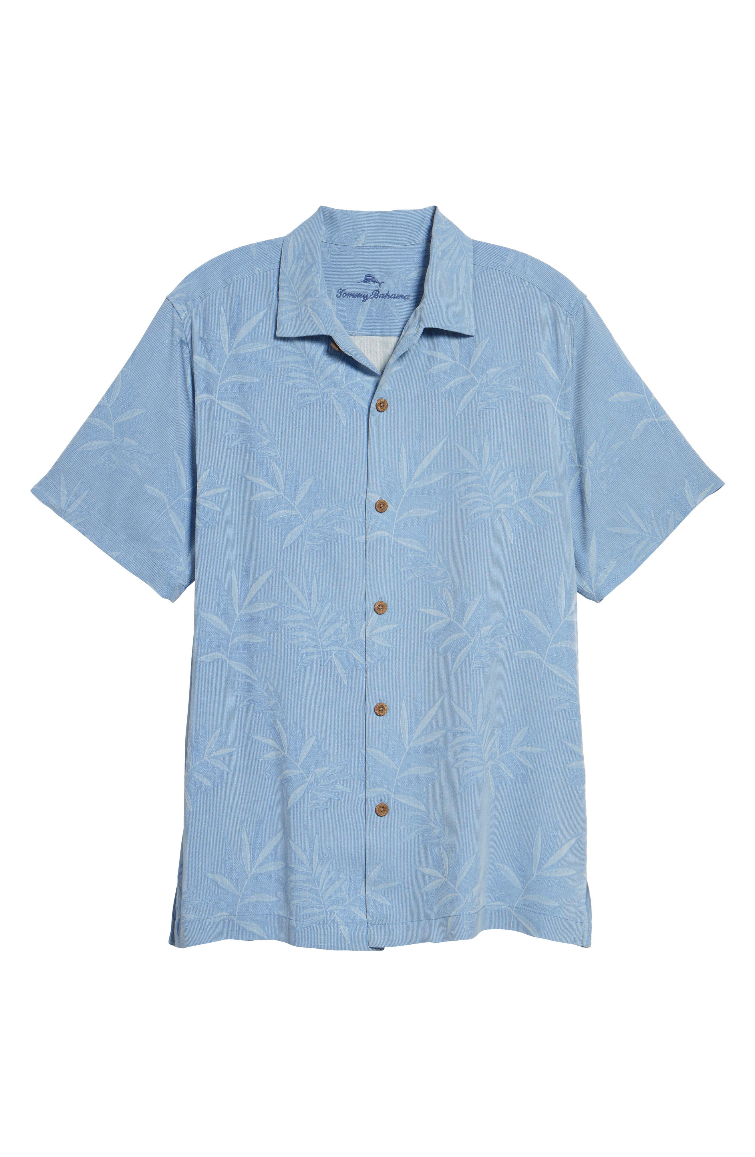Luau Floral Silk Shirt,                             Alternate thumbnail 6, color,                             LIGHT SKY