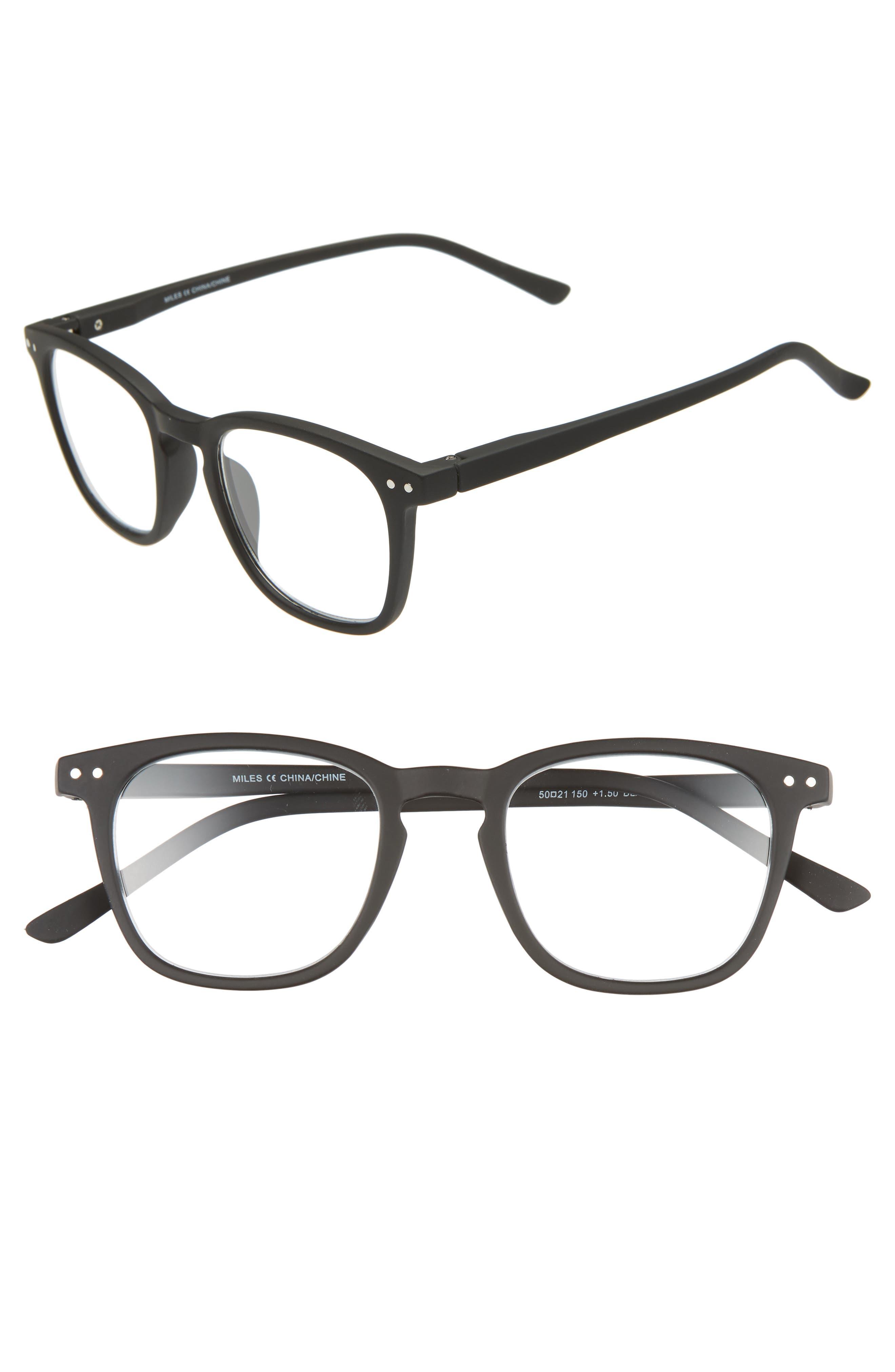 NORDSTROM MEN'S SHOP Miles 50mm Reading Glasses, Main, color, BLACK