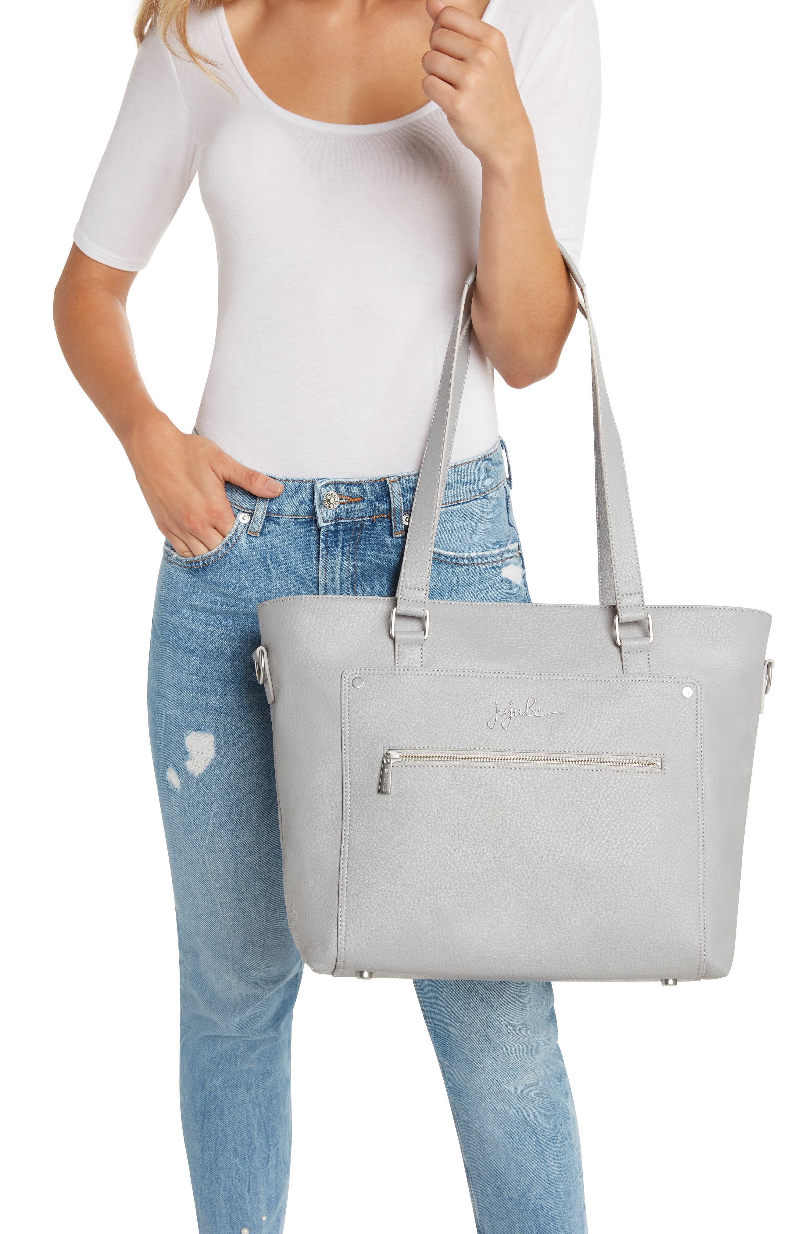 Ever Collection Everyday Faux Leather Diaper Tote,                             Alternate thumbnail 8, color,                             STONE