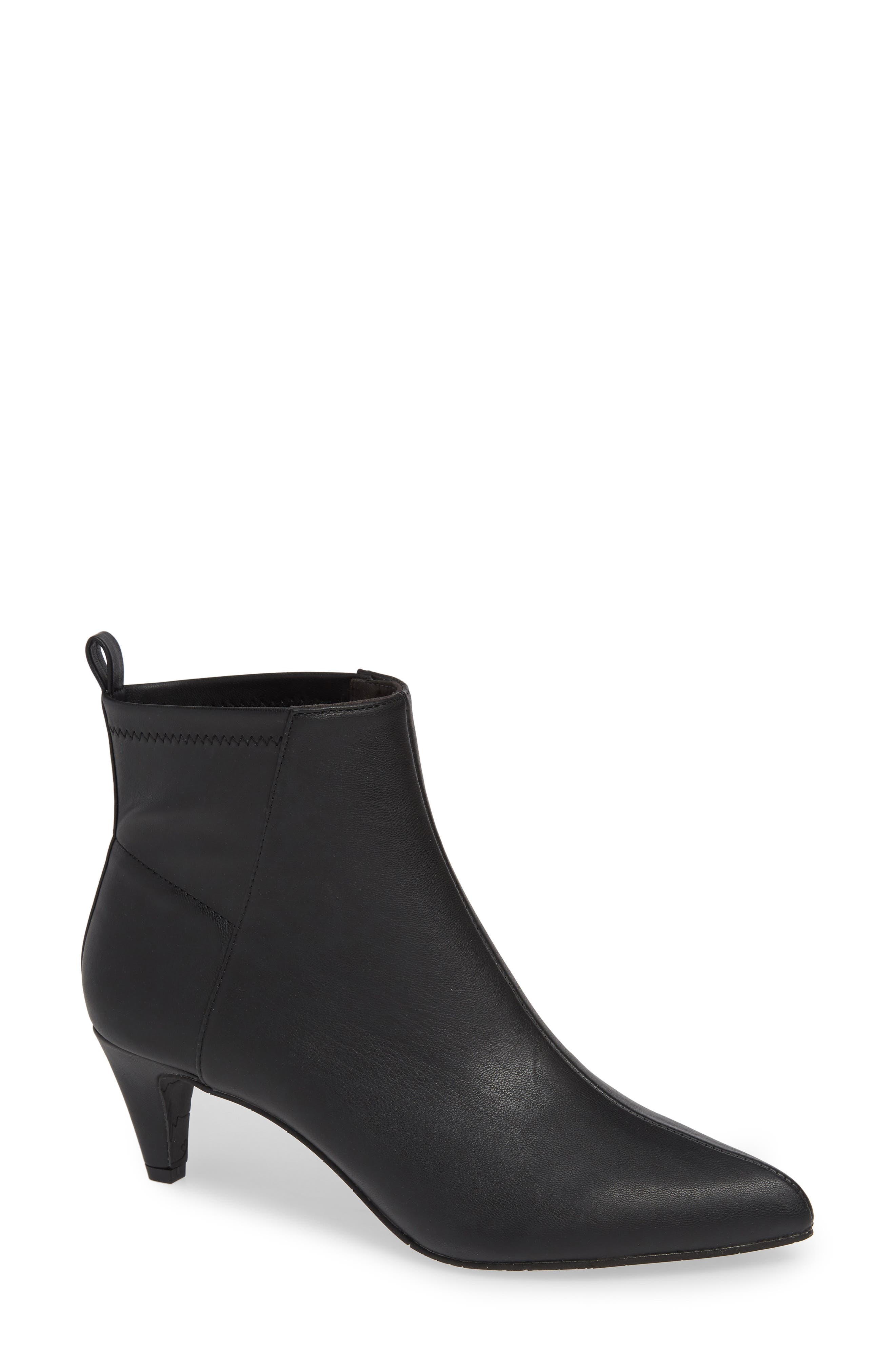 Millimeter Pointy Toe Bootie,                             Main thumbnail 1, color,                             BLACK STRETCH